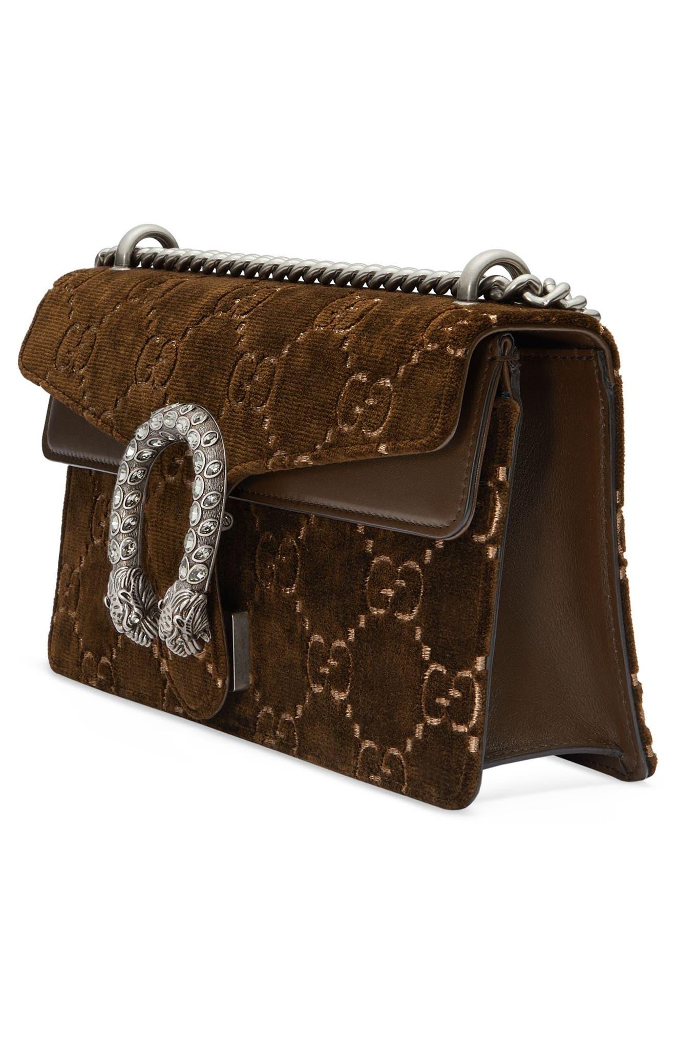 Small Dionysus GG Velvet Shoulder Bag,                             Alternate thumbnail 4, color,                             BROWN