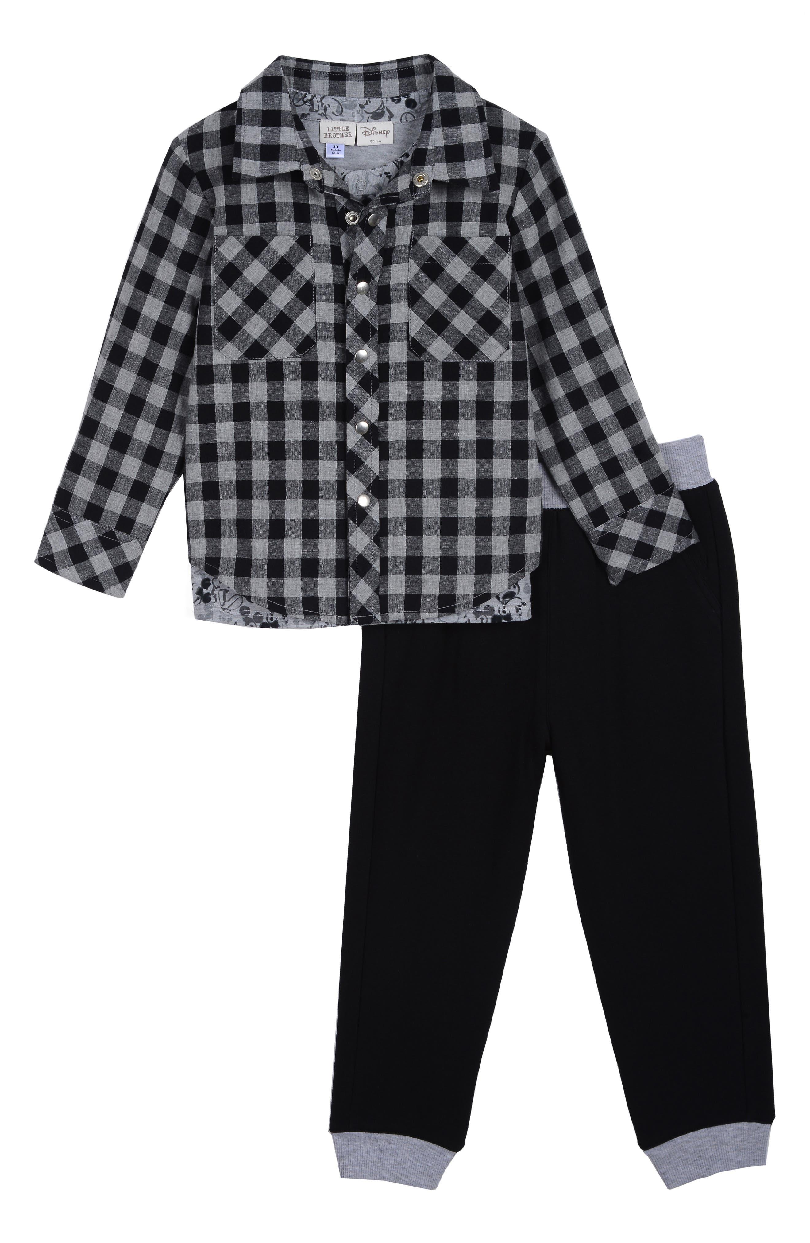 x Disney Plaid Shirt, T-Shirt & Pants Set,                             Main thumbnail 1, color,                             BLACK / GREY