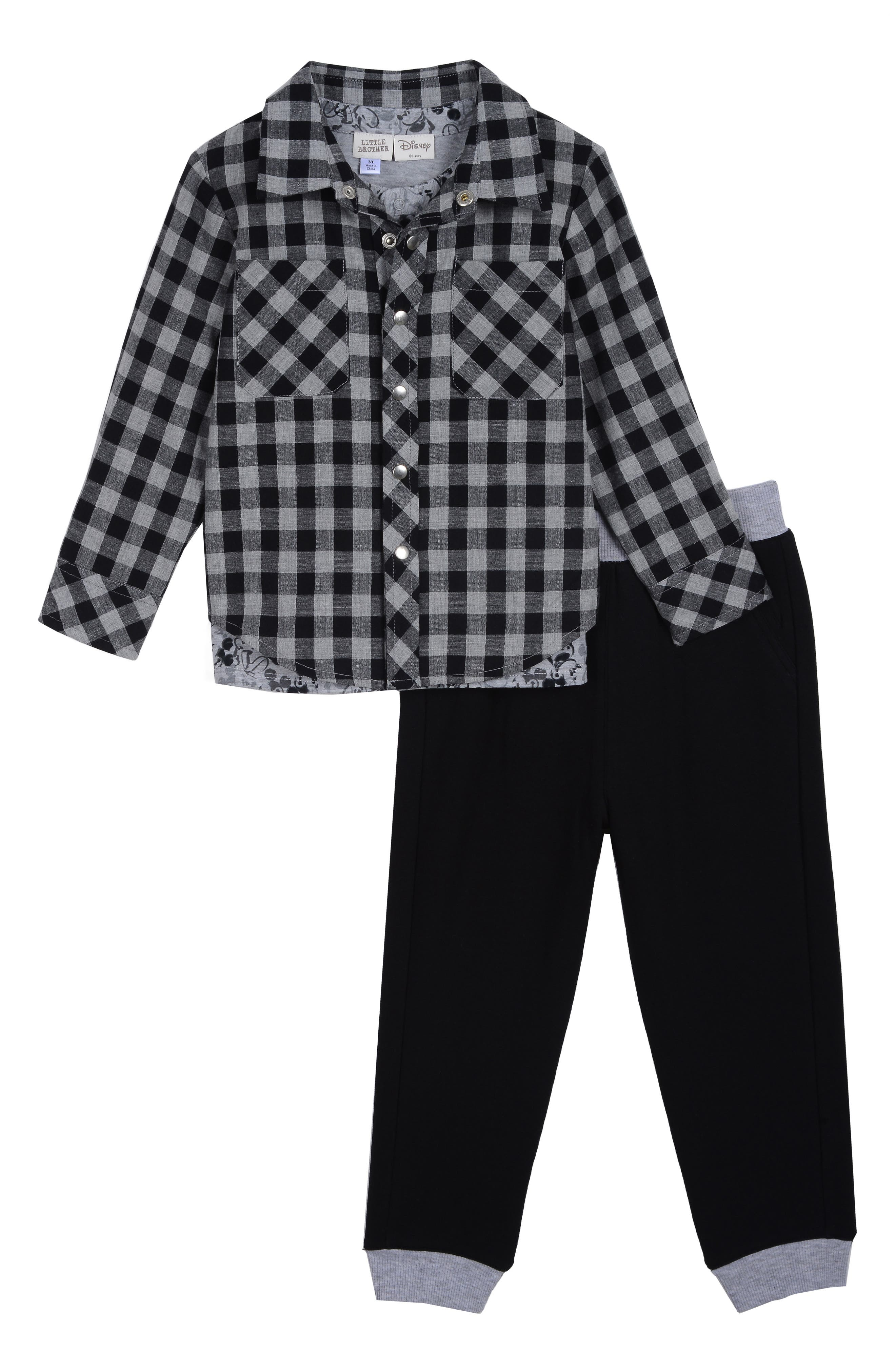 x Disney Plaid Shirt, T-Shirt & Pants Set, Main, color, BLACK / GREY