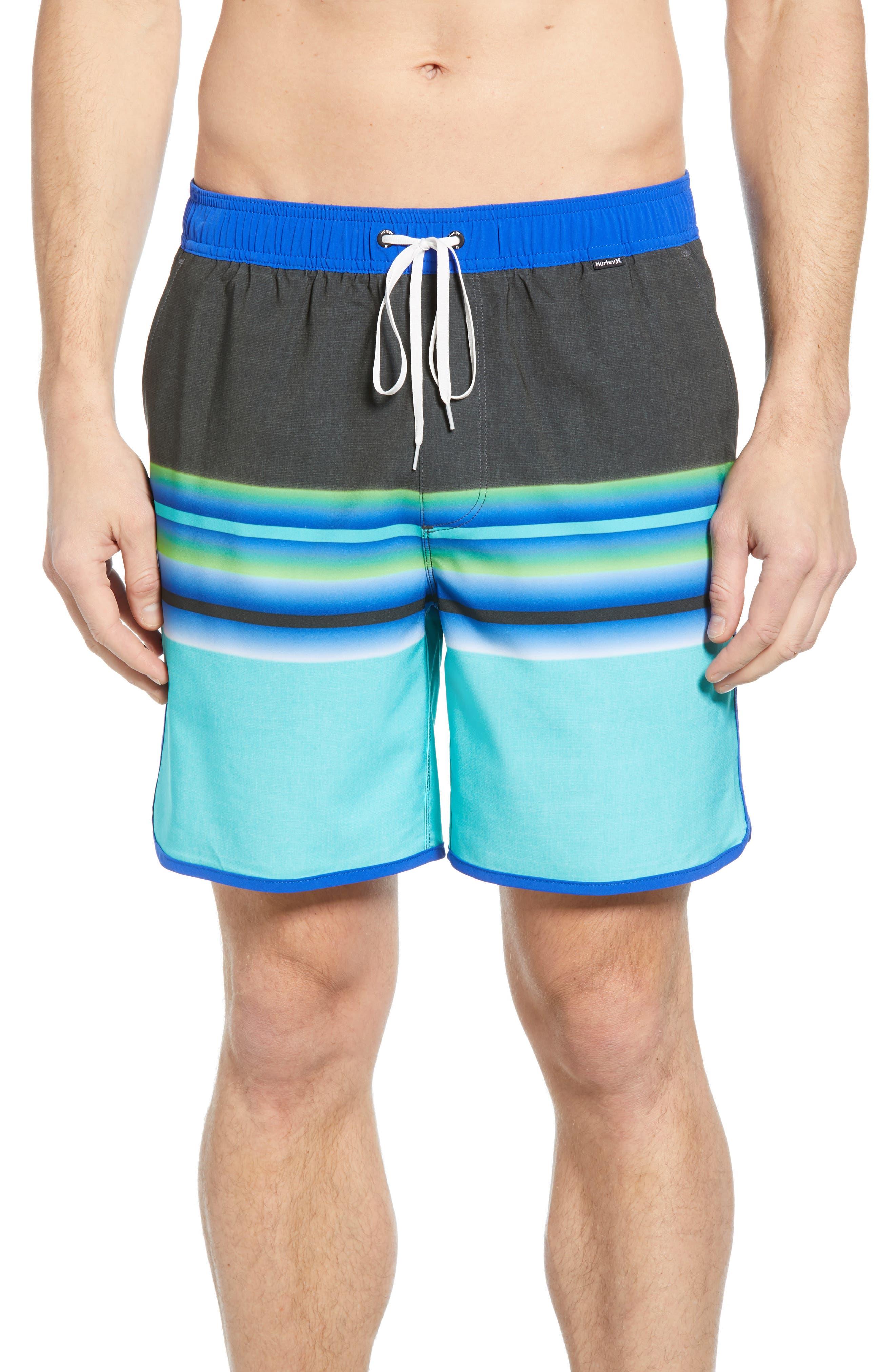 Hurley Phantom Zen Volley Swim Trunks, Blue/green