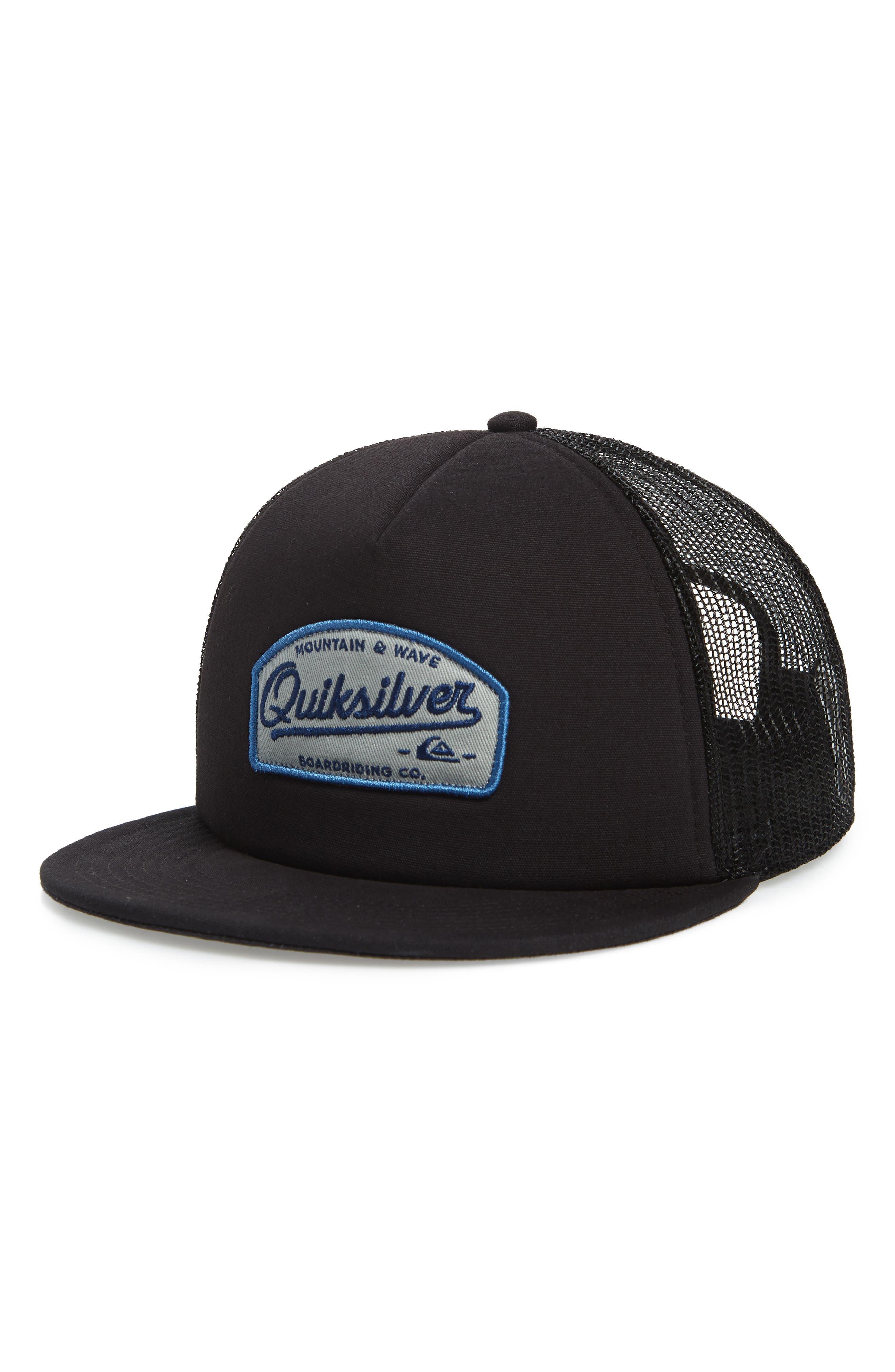 Past Checker Trucker Hat,                         Main,                         color, BLACK