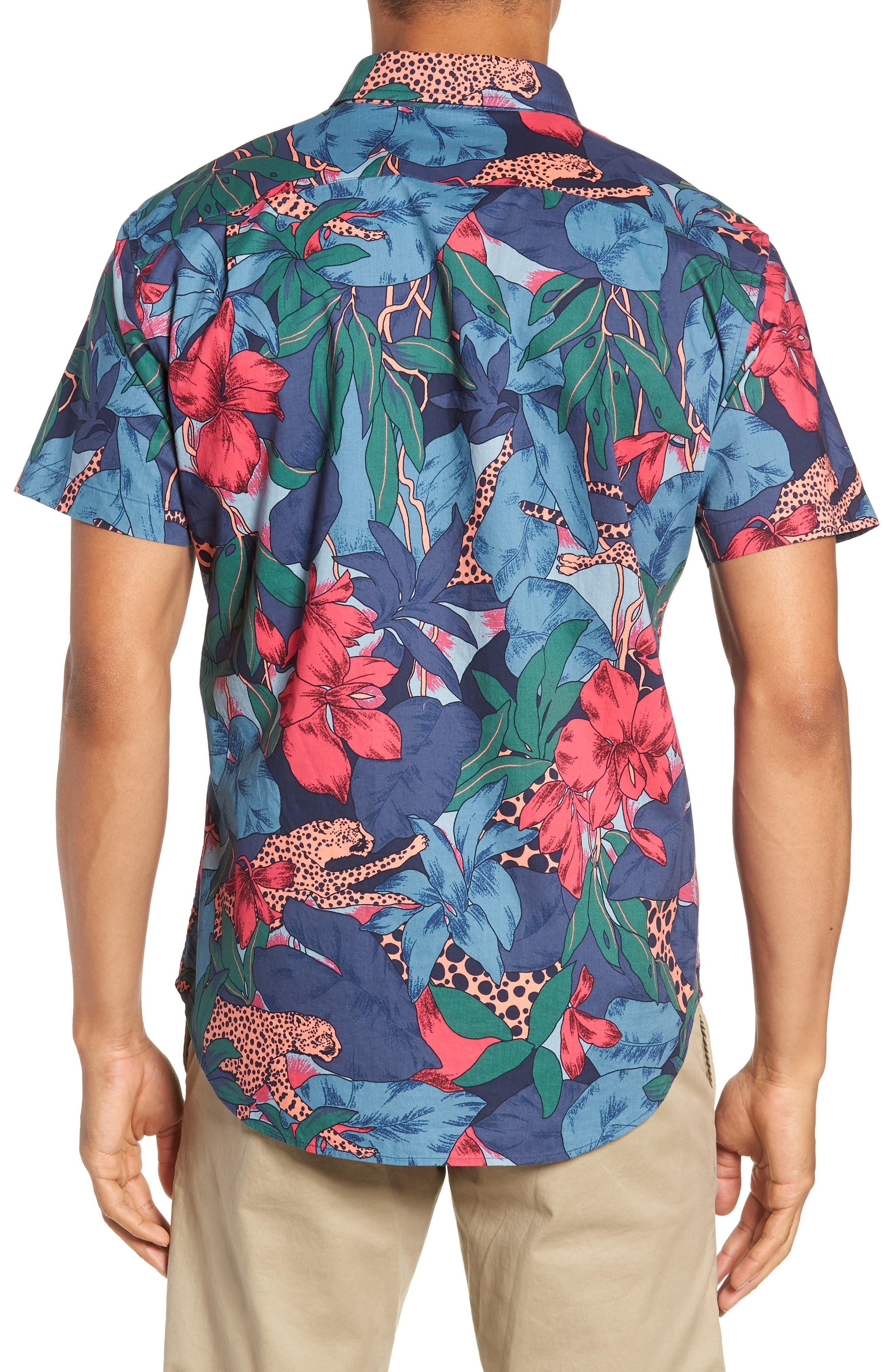 Riviera Slim Fit Leopard Floral Sport Shirt,                             Alternate thumbnail 3, color,                             WILD CATS - PEACH TWIG