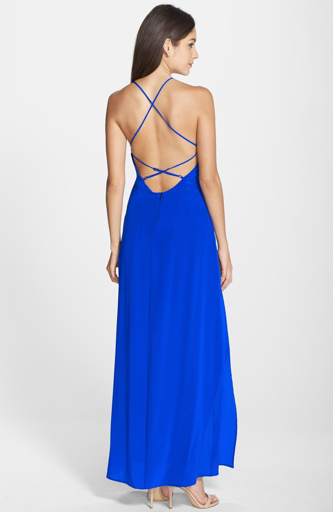 Strappy Back Silk Maxi Dress,                             Alternate thumbnail 2, color,                             421