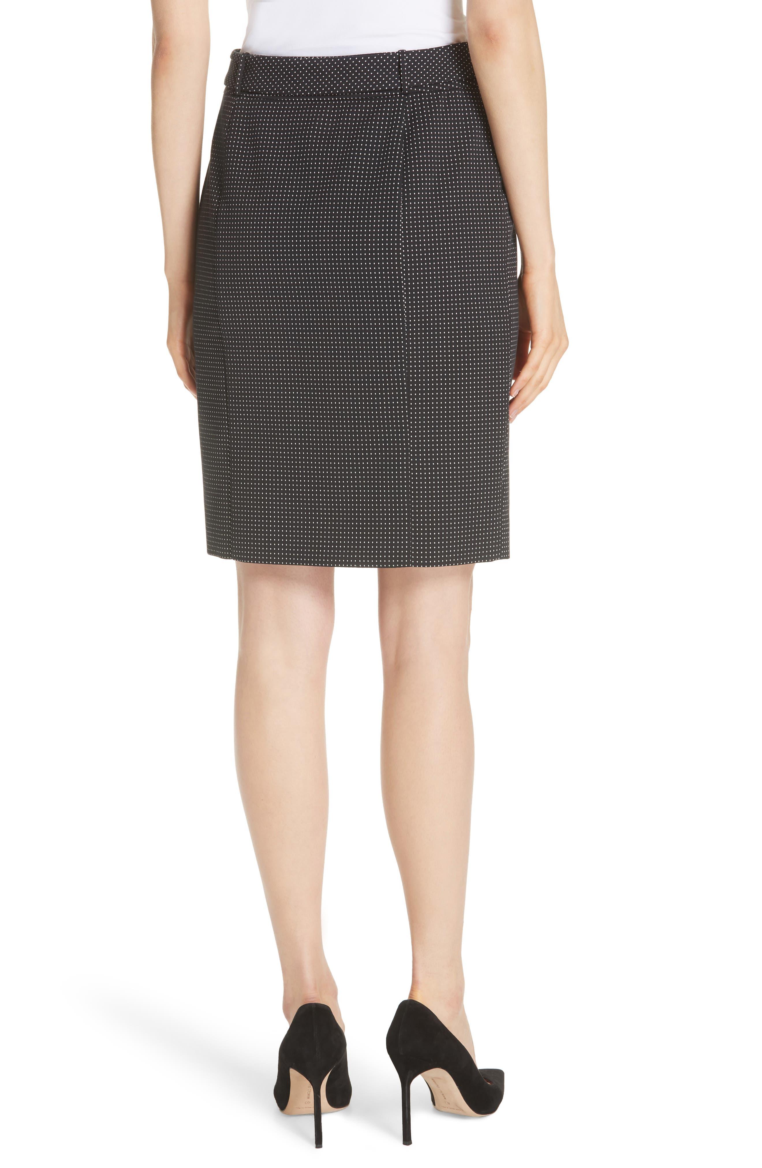 Vumano Dot Dessin Stretch Suit Skirt,                             Alternate thumbnail 2, color,                             BLACK FANTASY