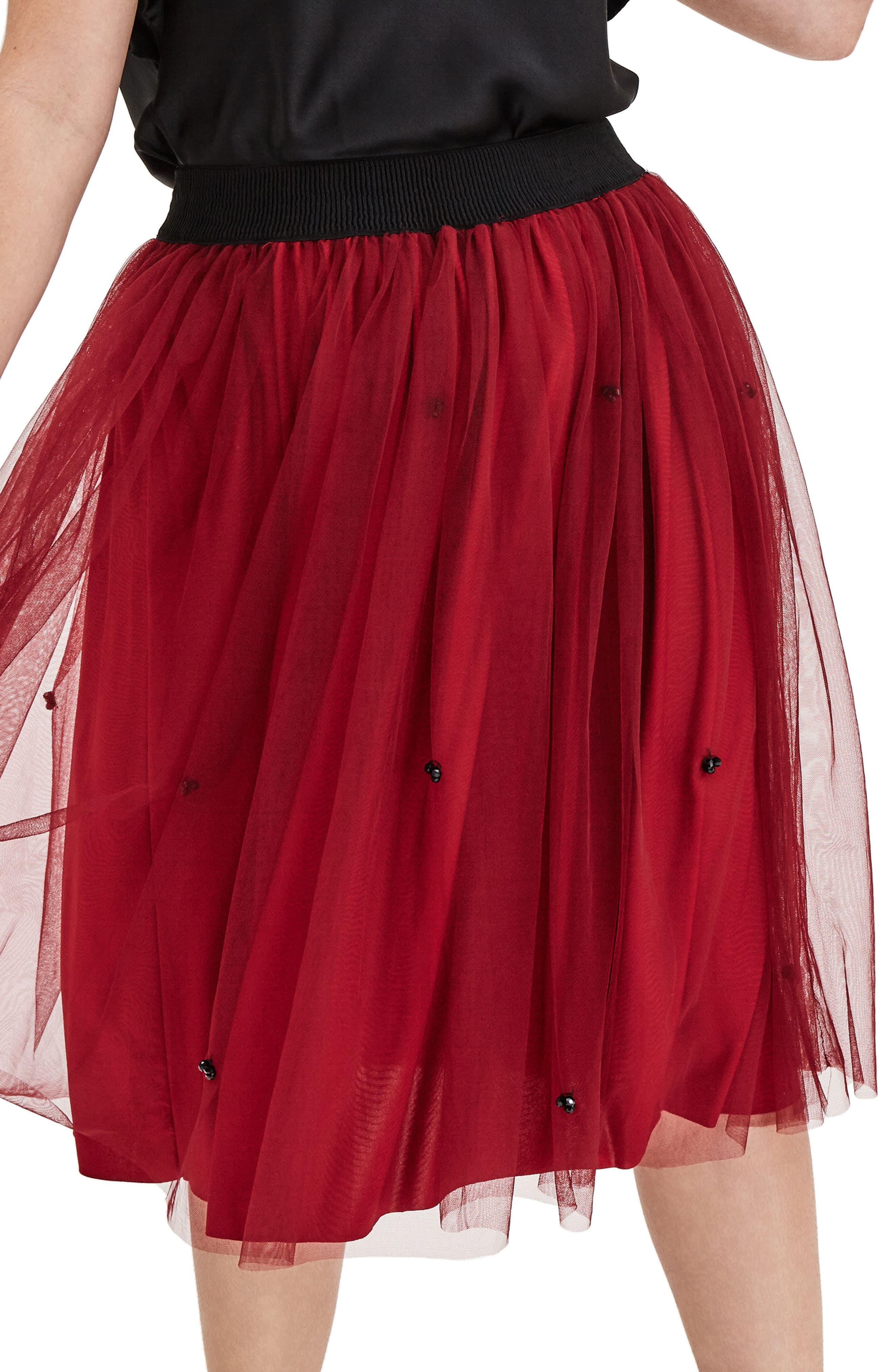 Red Tulle Beaded Skirt,                             Alternate thumbnail 3, color,                             600