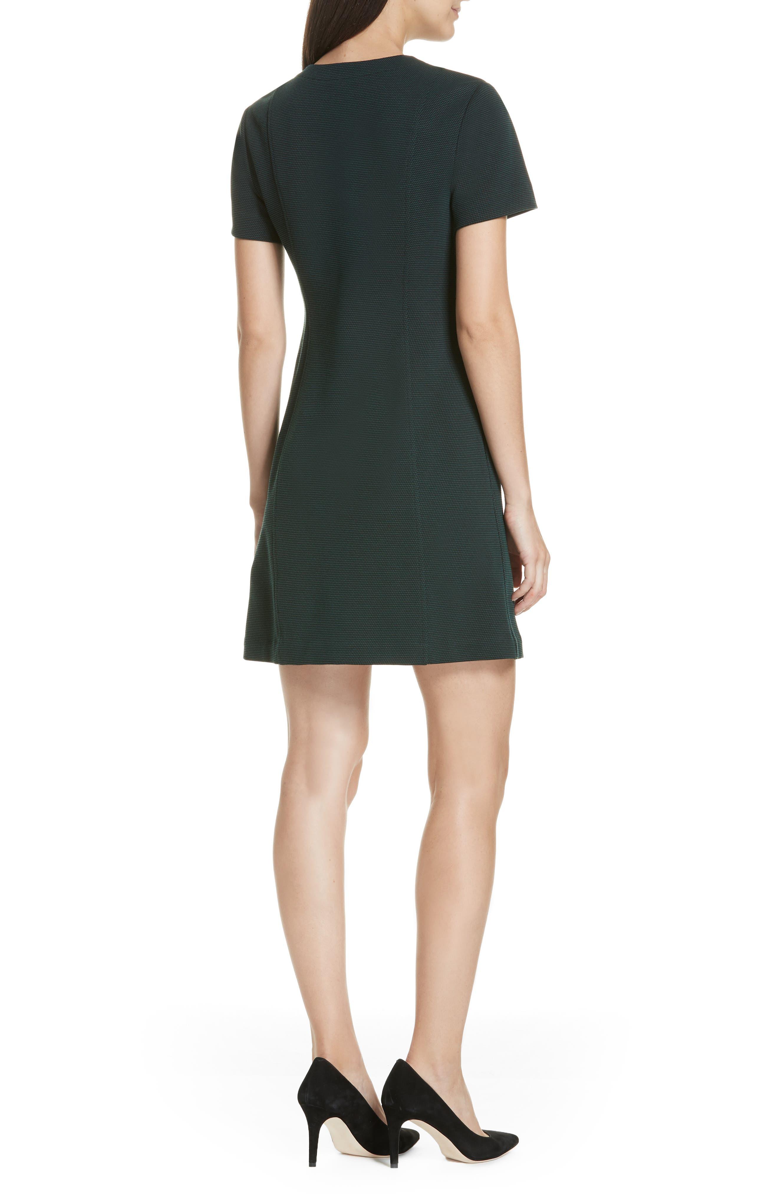 Easy Snap Textured Dress,                             Alternate thumbnail 2, color,                             GREEN POPLAR/ POP NAVY