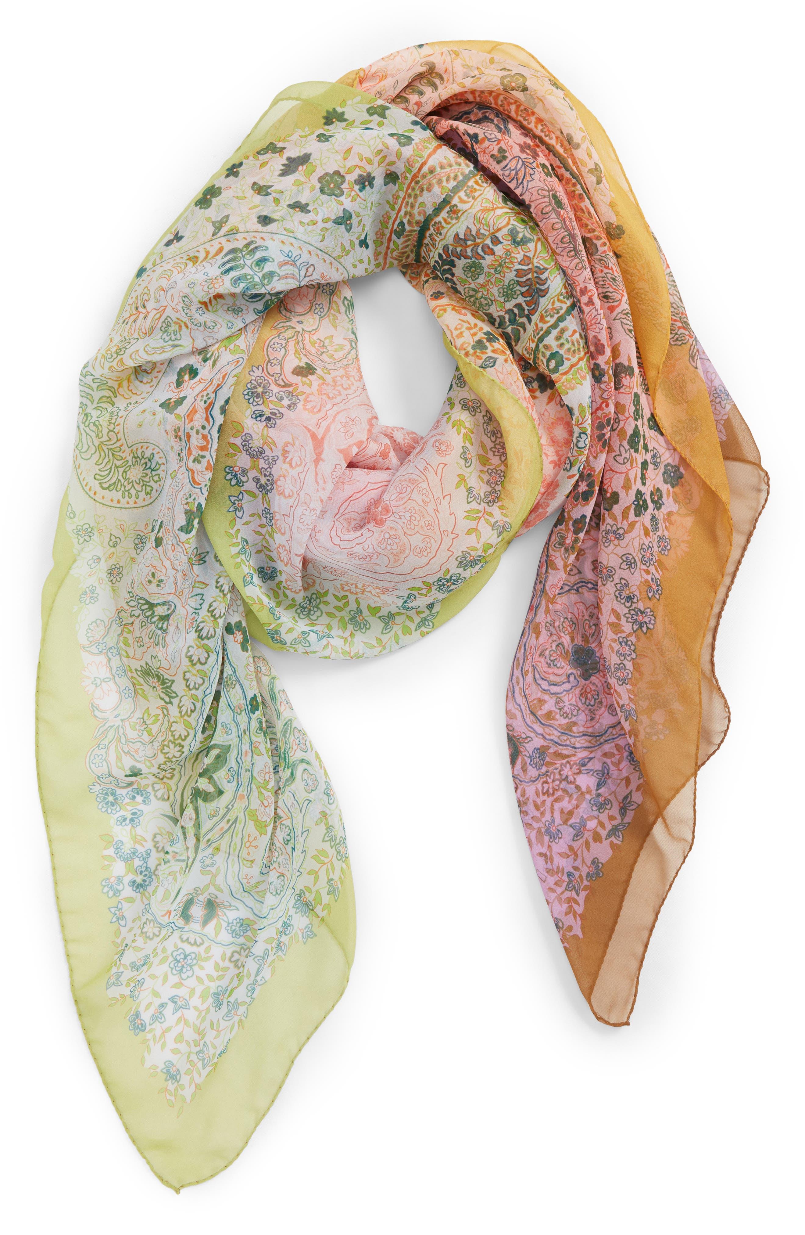 Paisley Silk Scarf,                             Main thumbnail 1, color,                             ORANGE