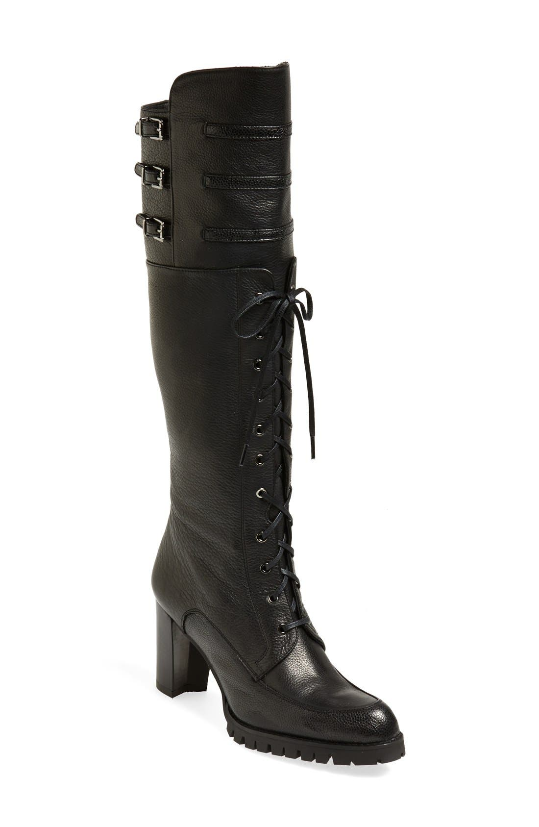 STUART WEITZMAN 'Soldier' Lace-Up Military Boot, Main, color, 001