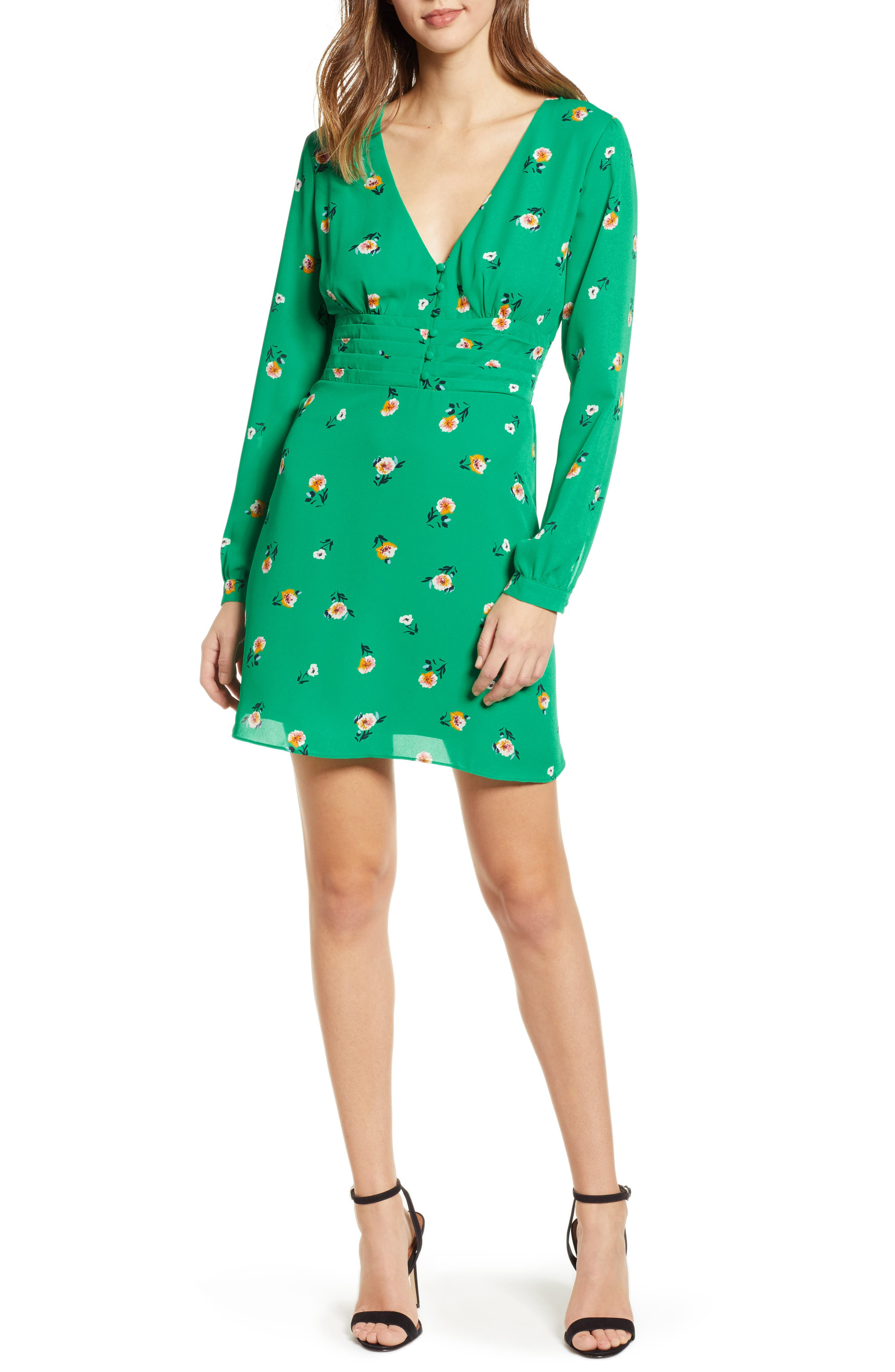 Socialite Print Button Dress, Green