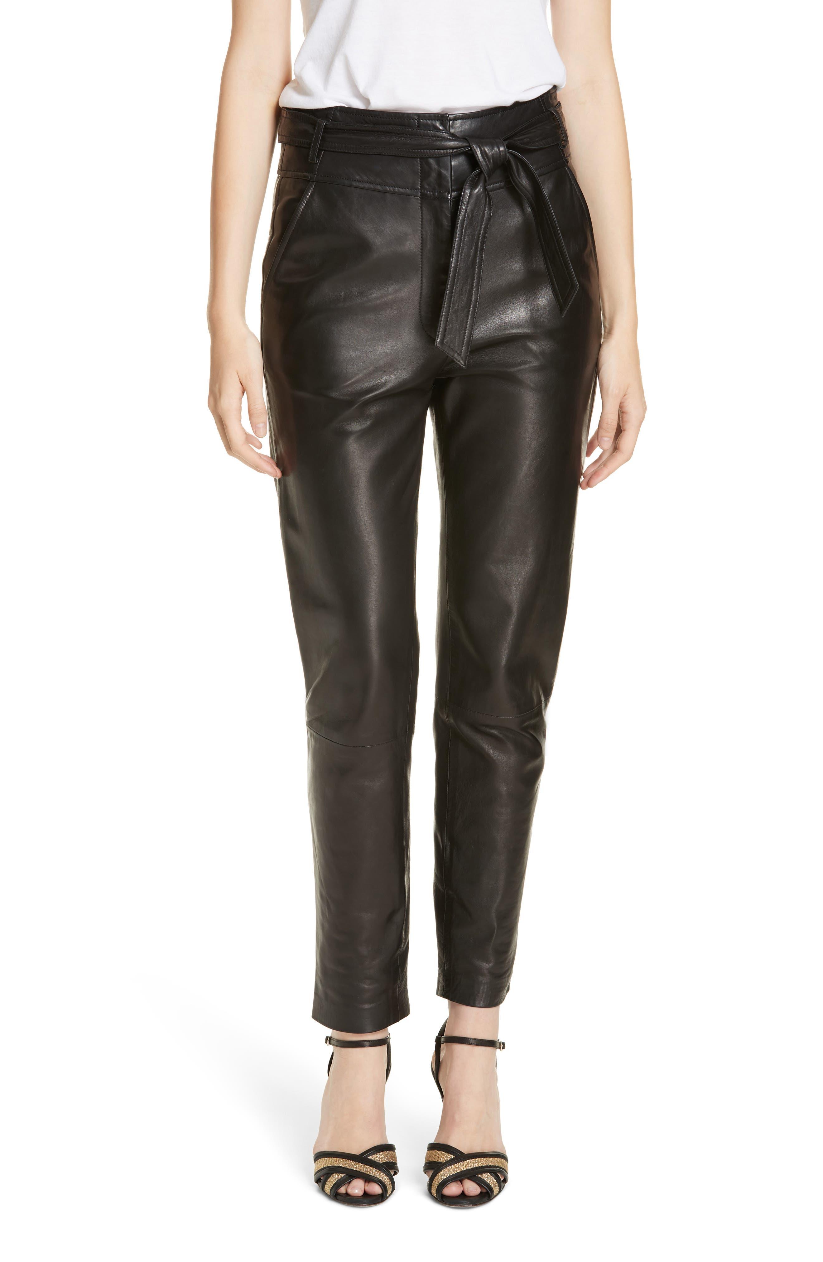 Faxon Leather Pants,                         Main,                         color, BLACK