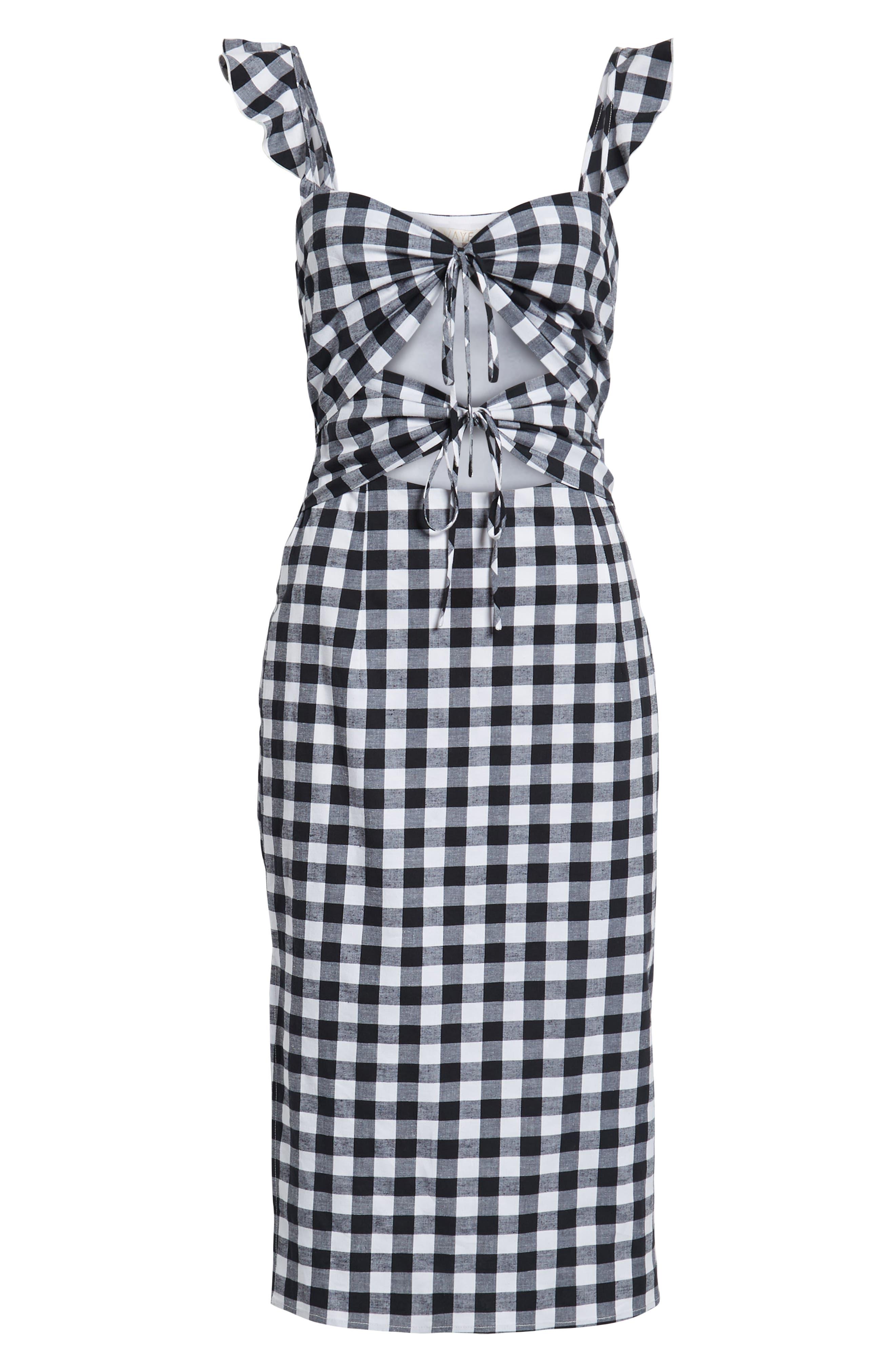 Verona Cutout Midi Dress,                             Alternate thumbnail 7, color,                             001