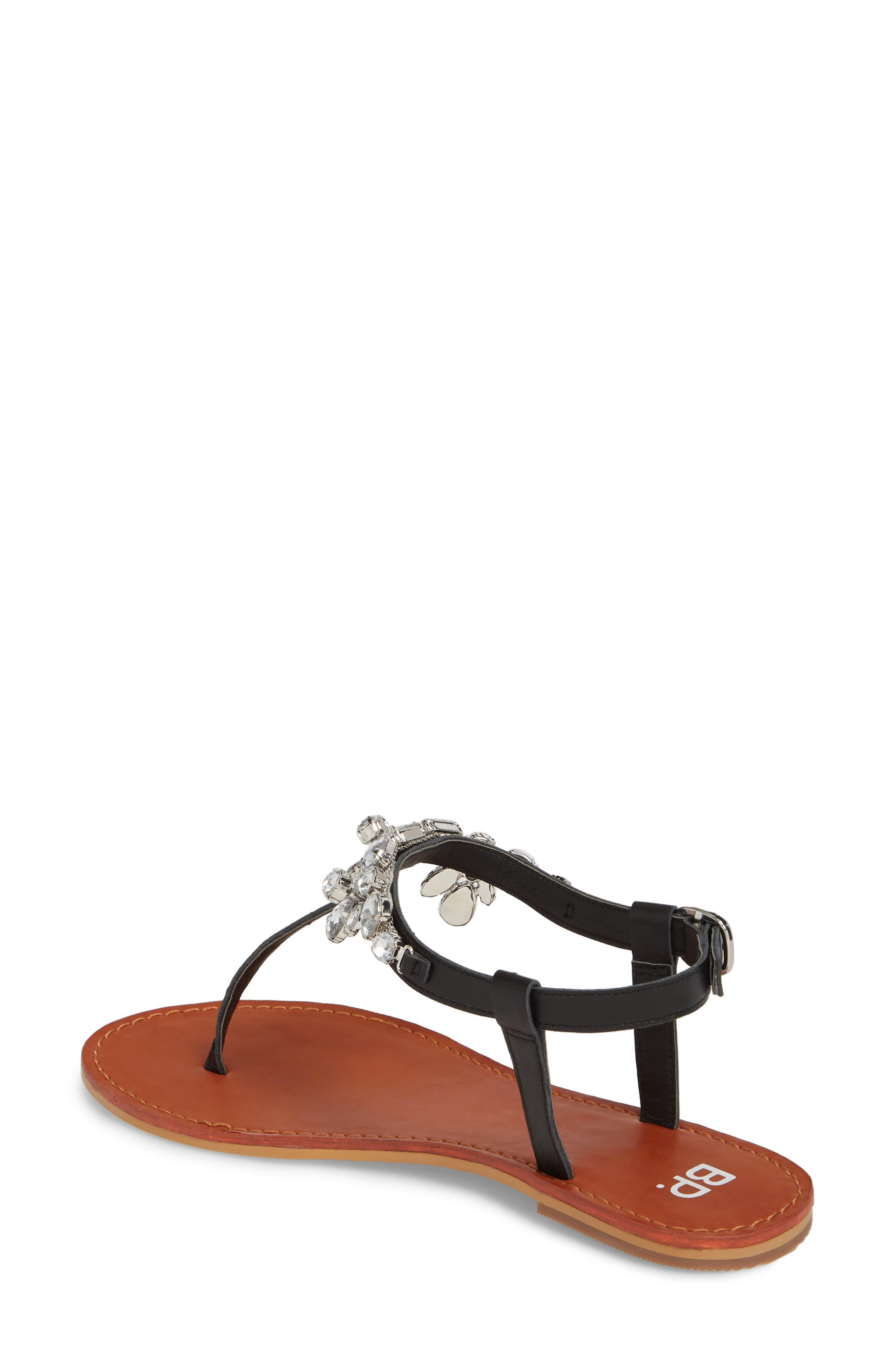 Rock Embellished T-Strap Sandal,                             Alternate thumbnail 2, color,                             001