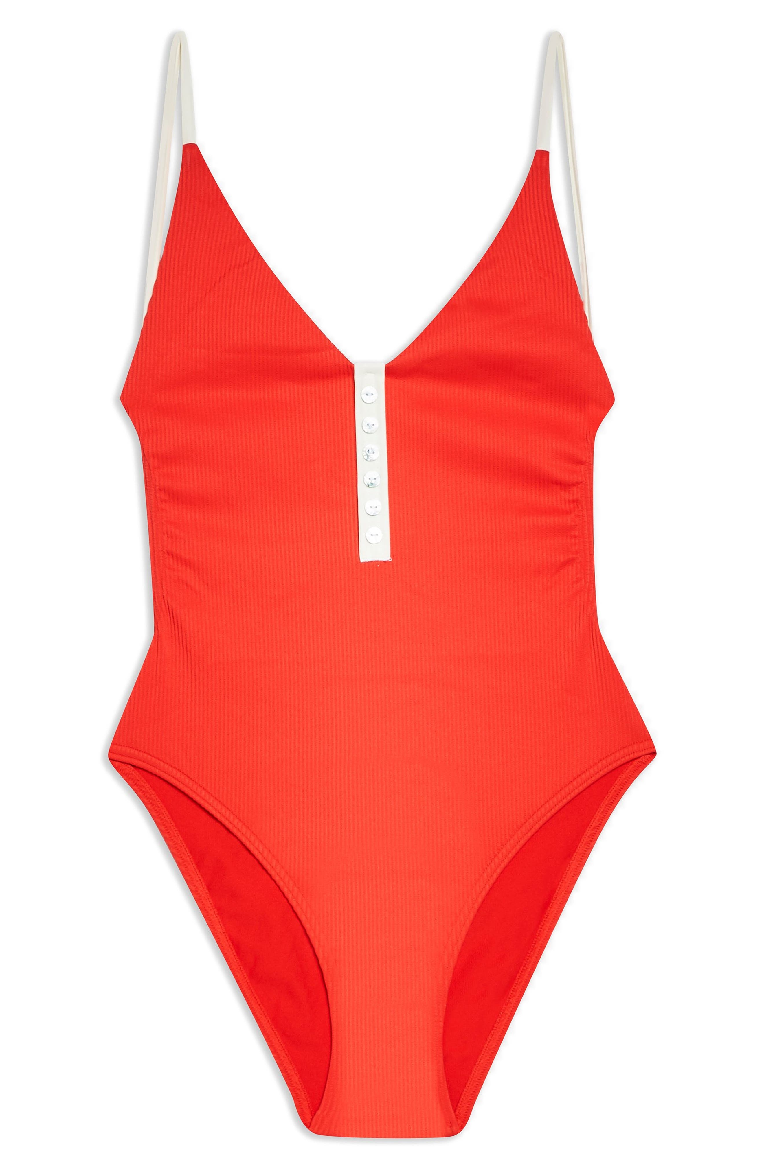 60s Swimsuits, 70s Bathing Suits | Retro Swimwear Womens Topshop Pamela Button Ribbed One-Piece Swimsuit $52.00 AT vintagedancer.com