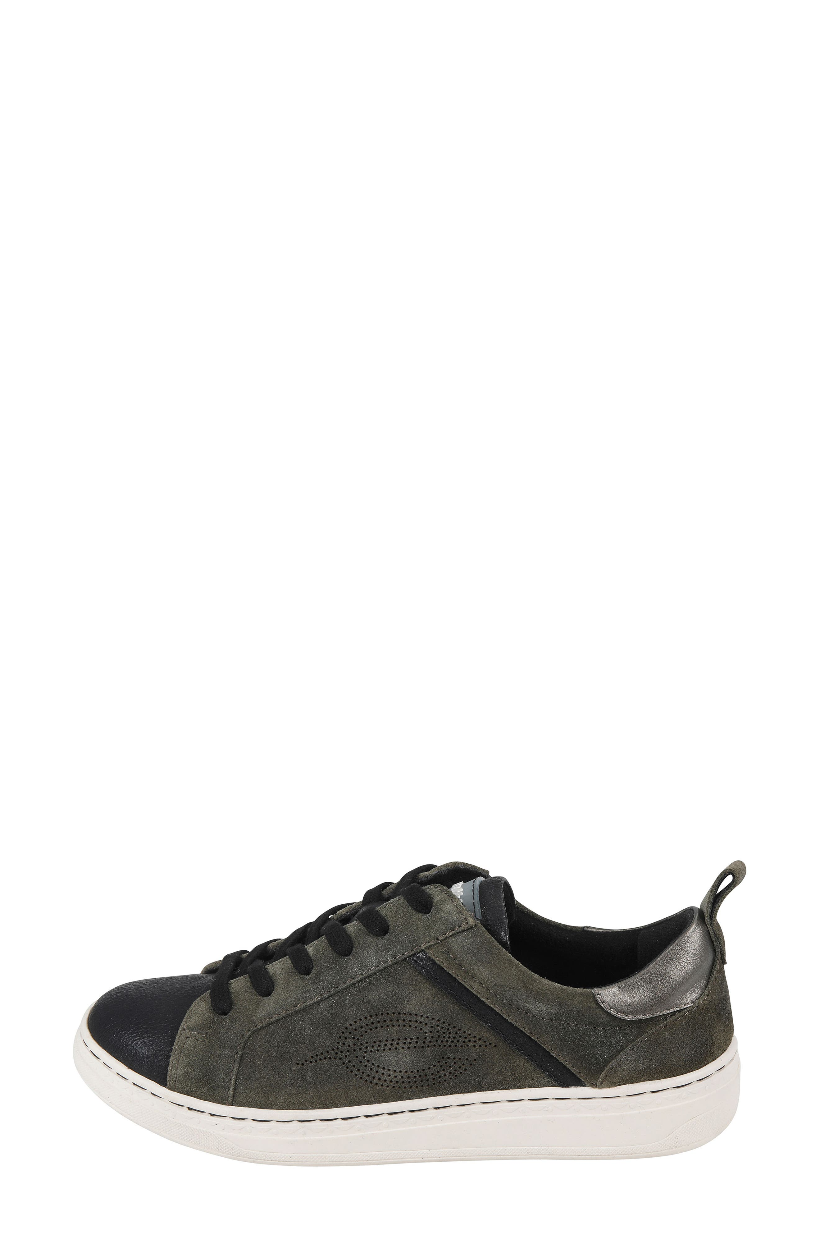 Zinnia Low Top Sneaker,                             Alternate thumbnail 3, color,                             BLACK METALLIC FAUX LEATHER
