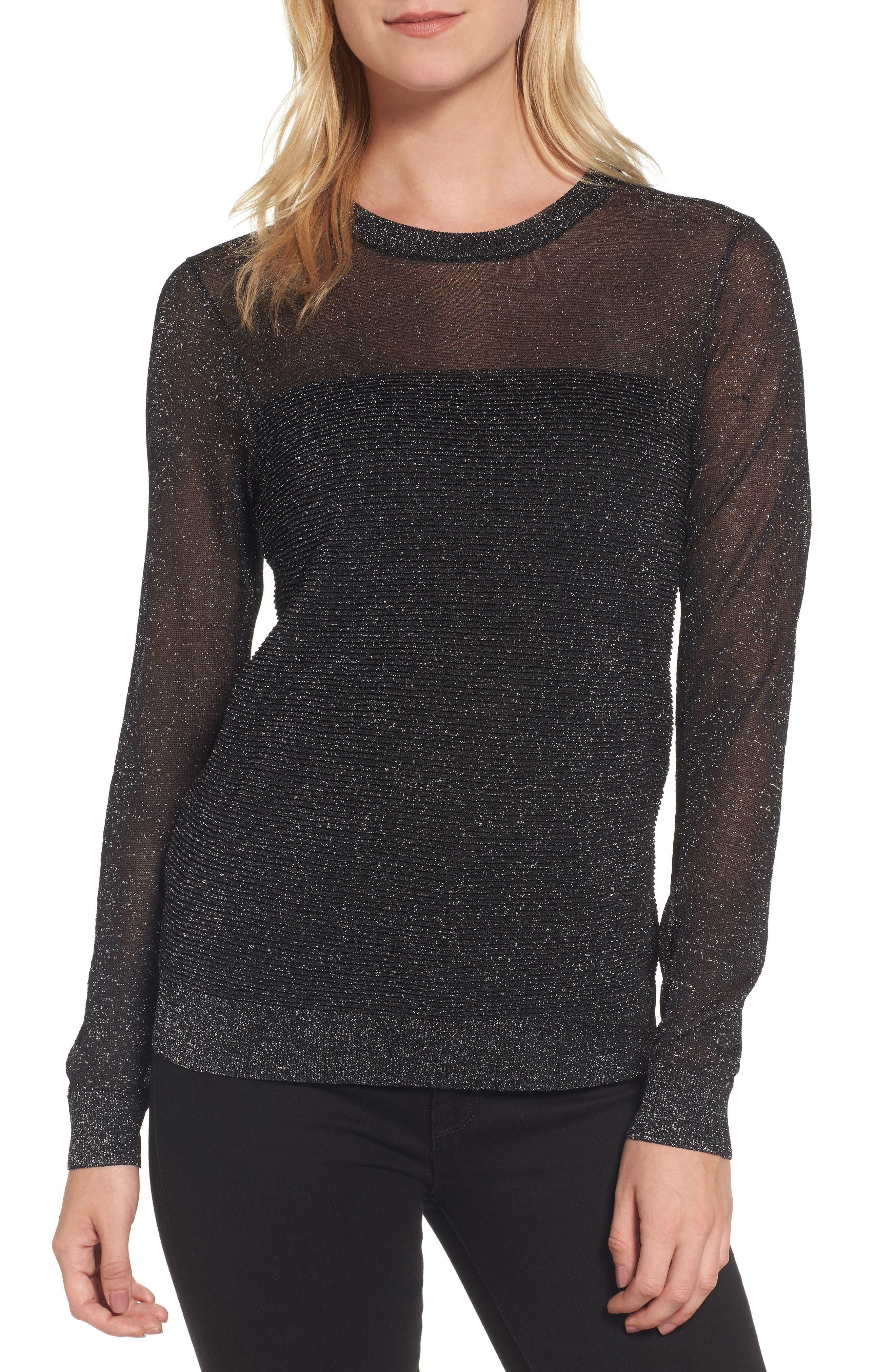 Sheer Metallic Overlay Sweater,                         Main,                         color, 001