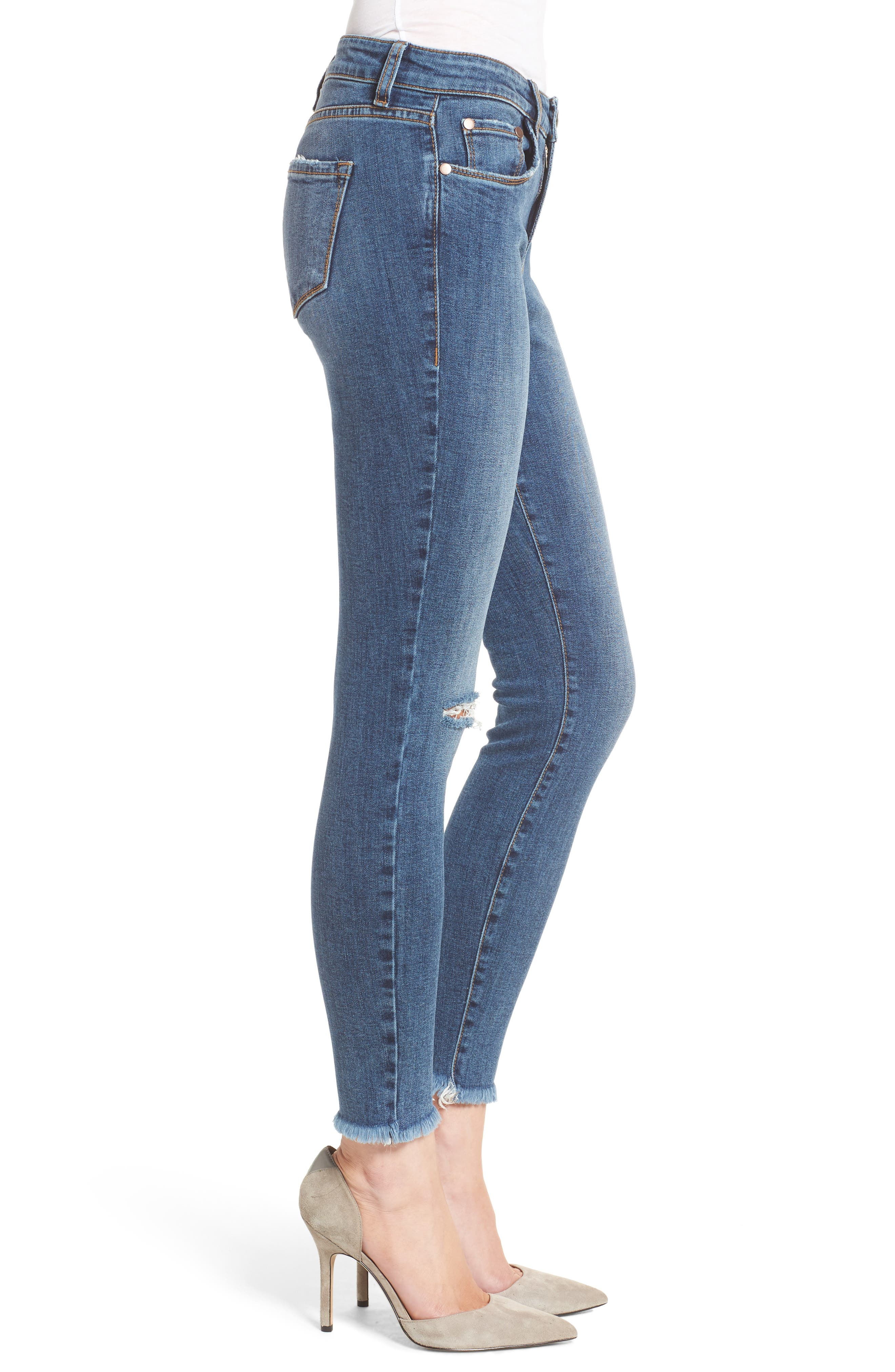 Ripped Skinny Ankle Jeans,                             Alternate thumbnail 3, color,                             400