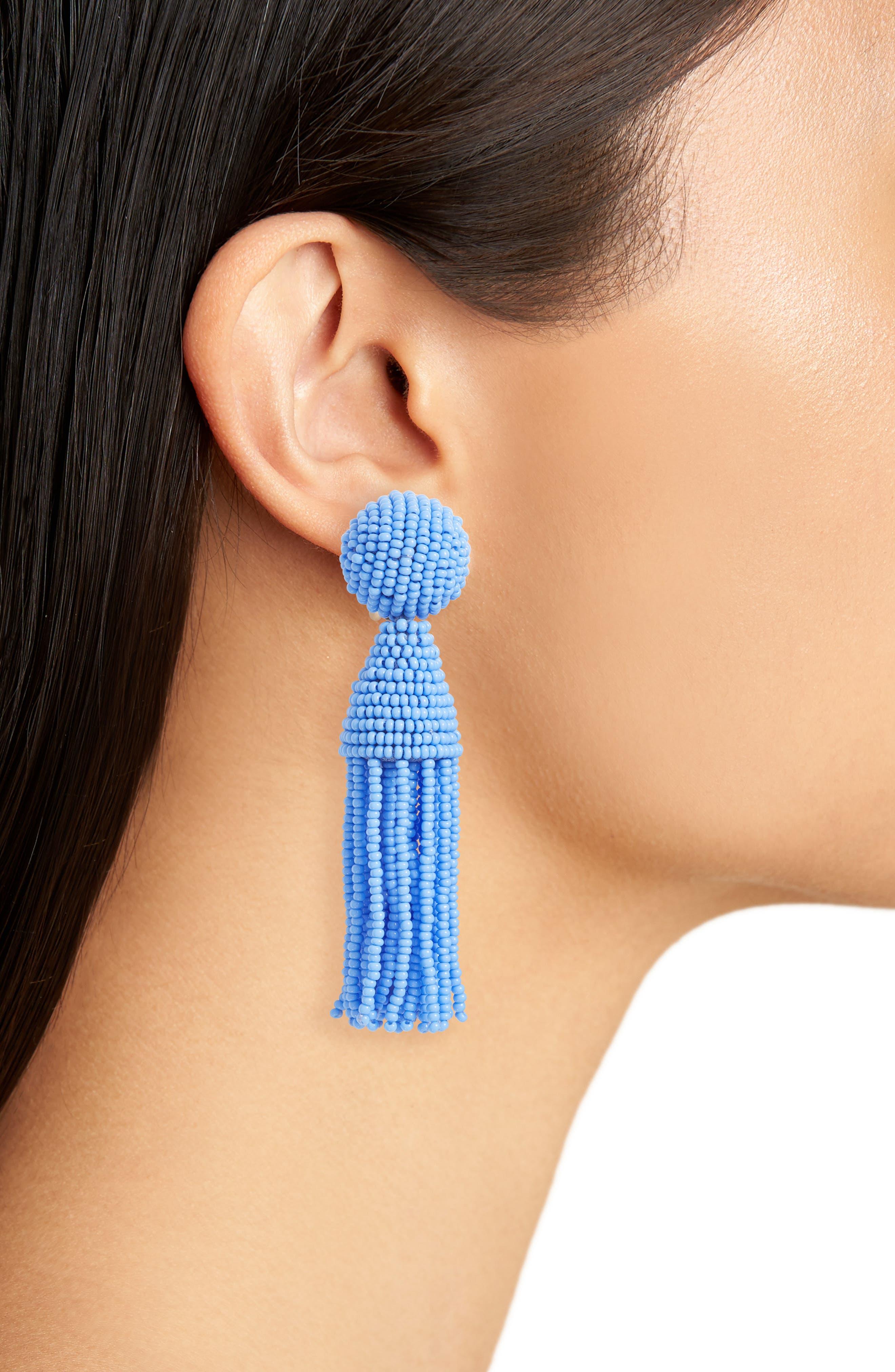 'Classic Short' Tassel Drop Clip Earrings,                             Alternate thumbnail 31, color,