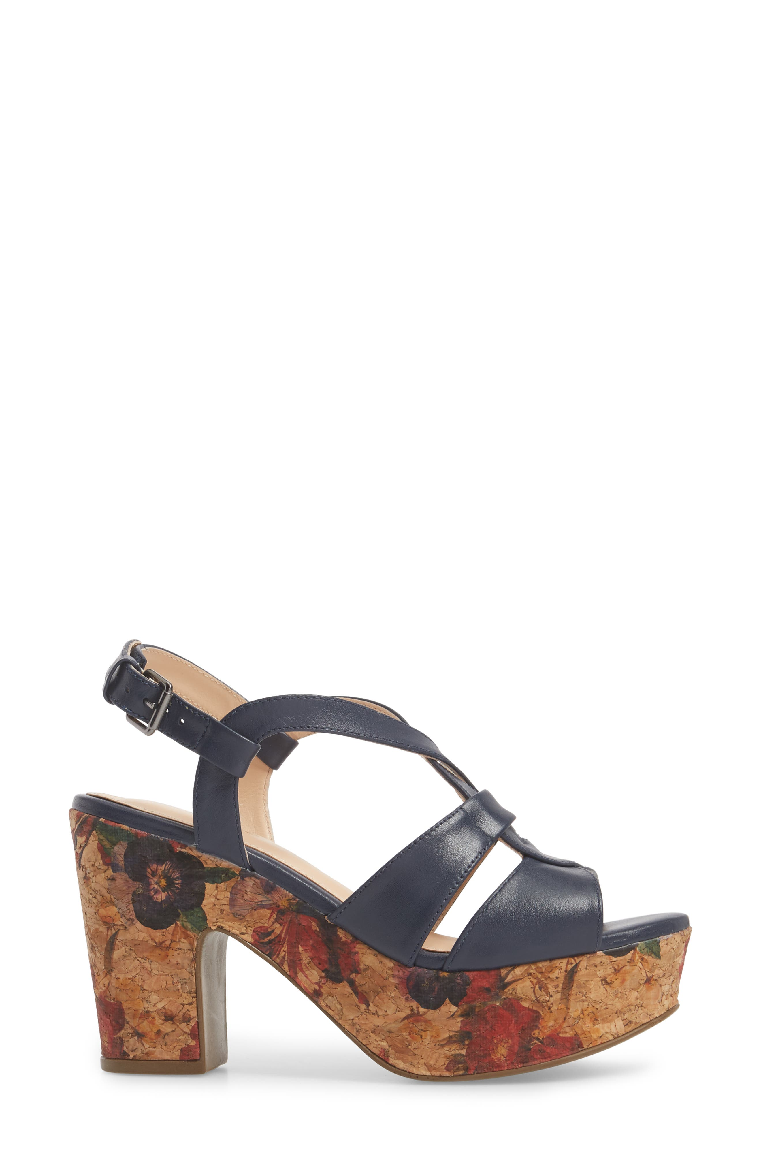 KLUB NICO,                             Victoria Platform Sandal,                             Alternate thumbnail 3, color,                             NAVY LEATHER