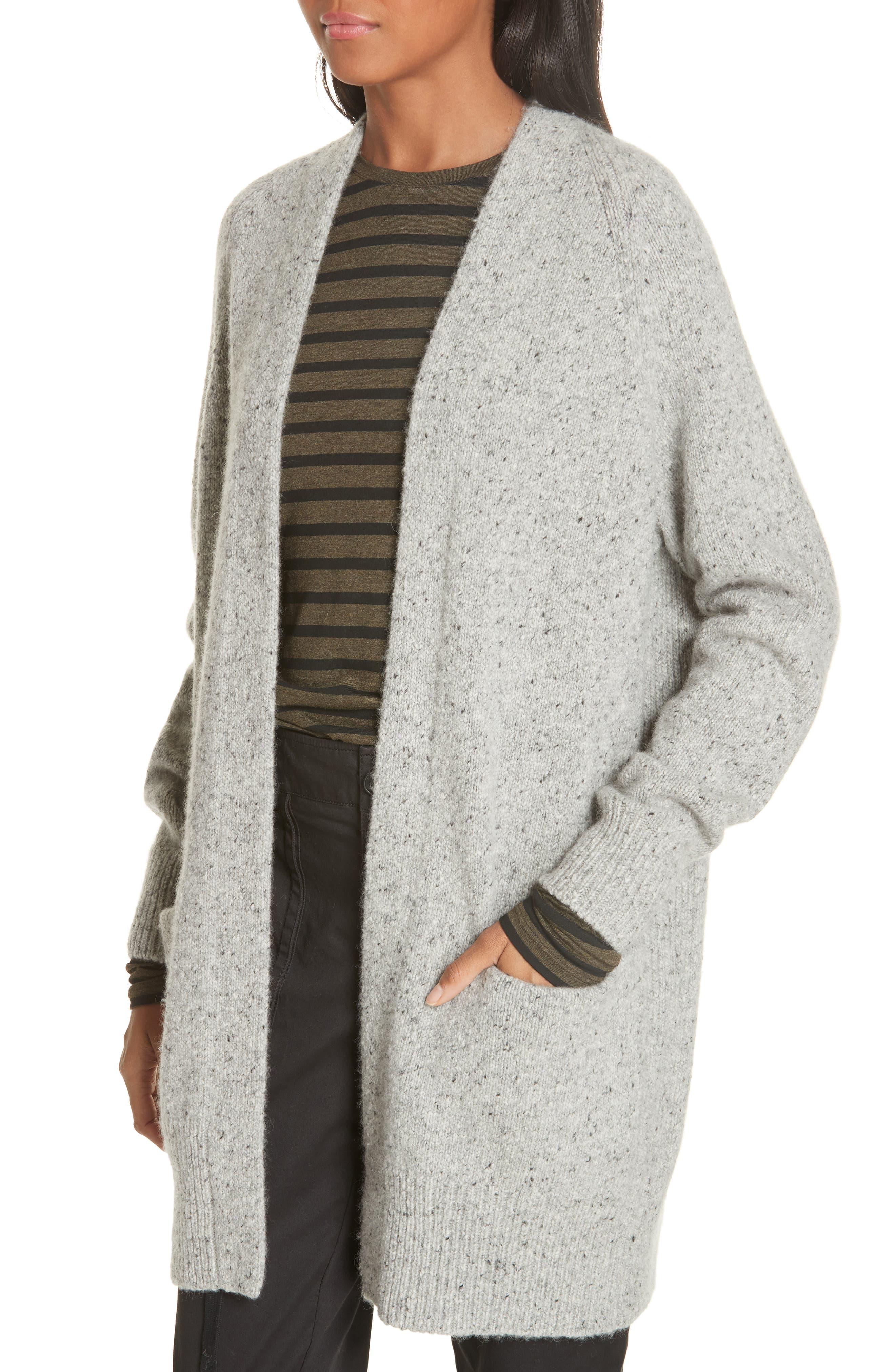 Cashmere Raglan Sleeve Open Front Cardigan,                             Alternate thumbnail 4, color,                             SOFT GREY