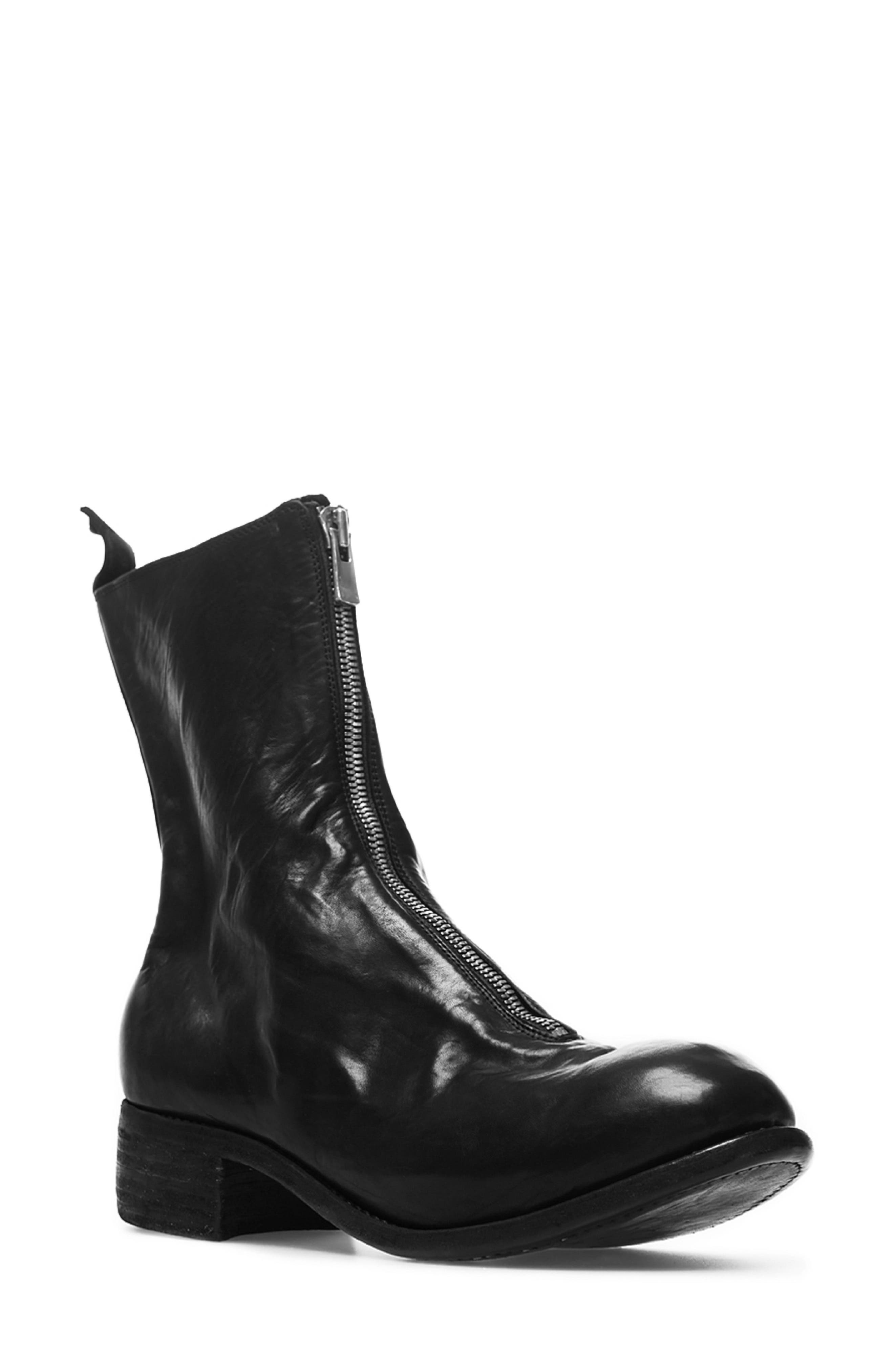 Front Zip Boot, Main, color, BLACK