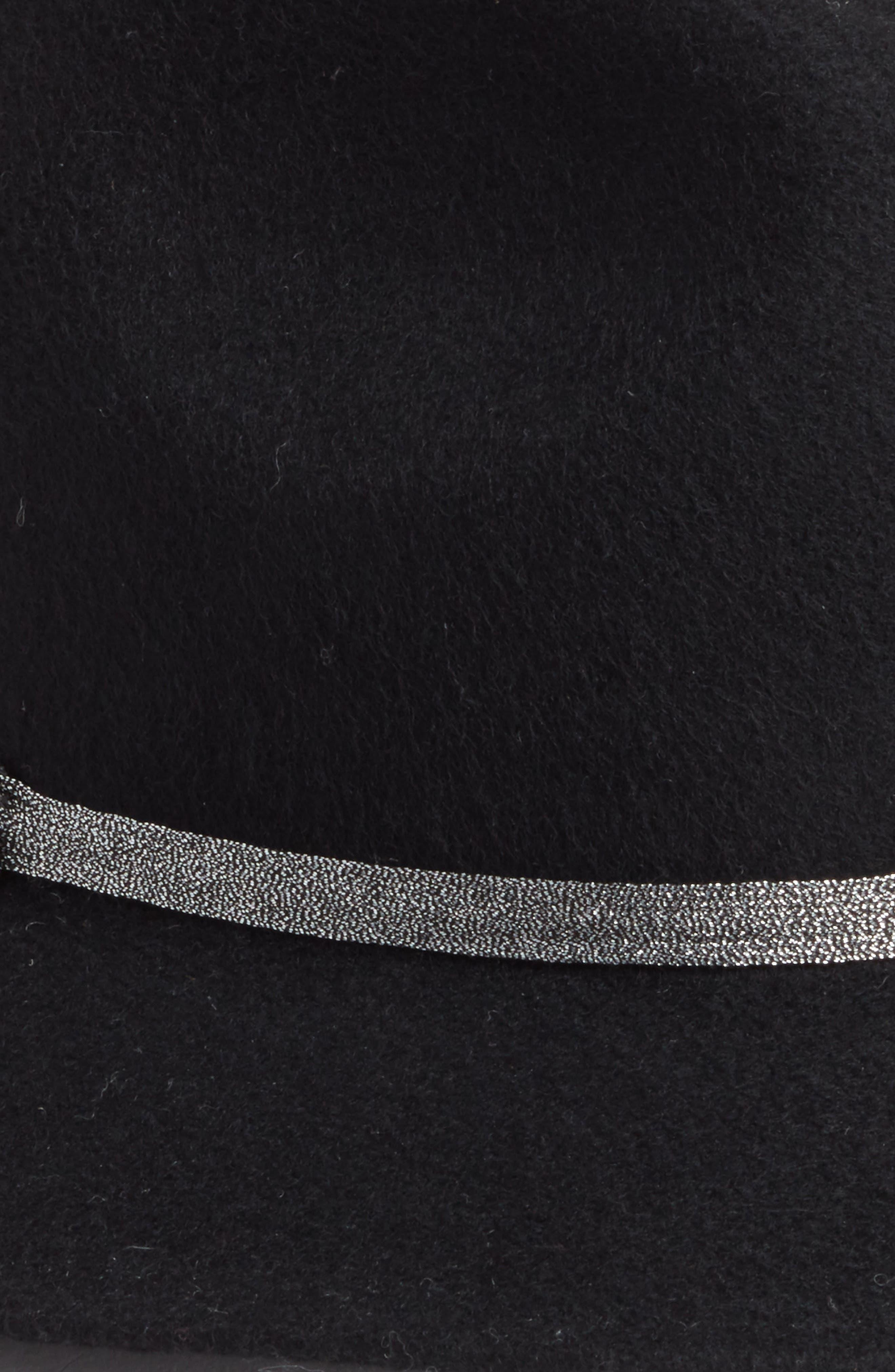 Metallic Band Wool Felt Panama Hat,                             Alternate thumbnail 2, color,                             BLACK