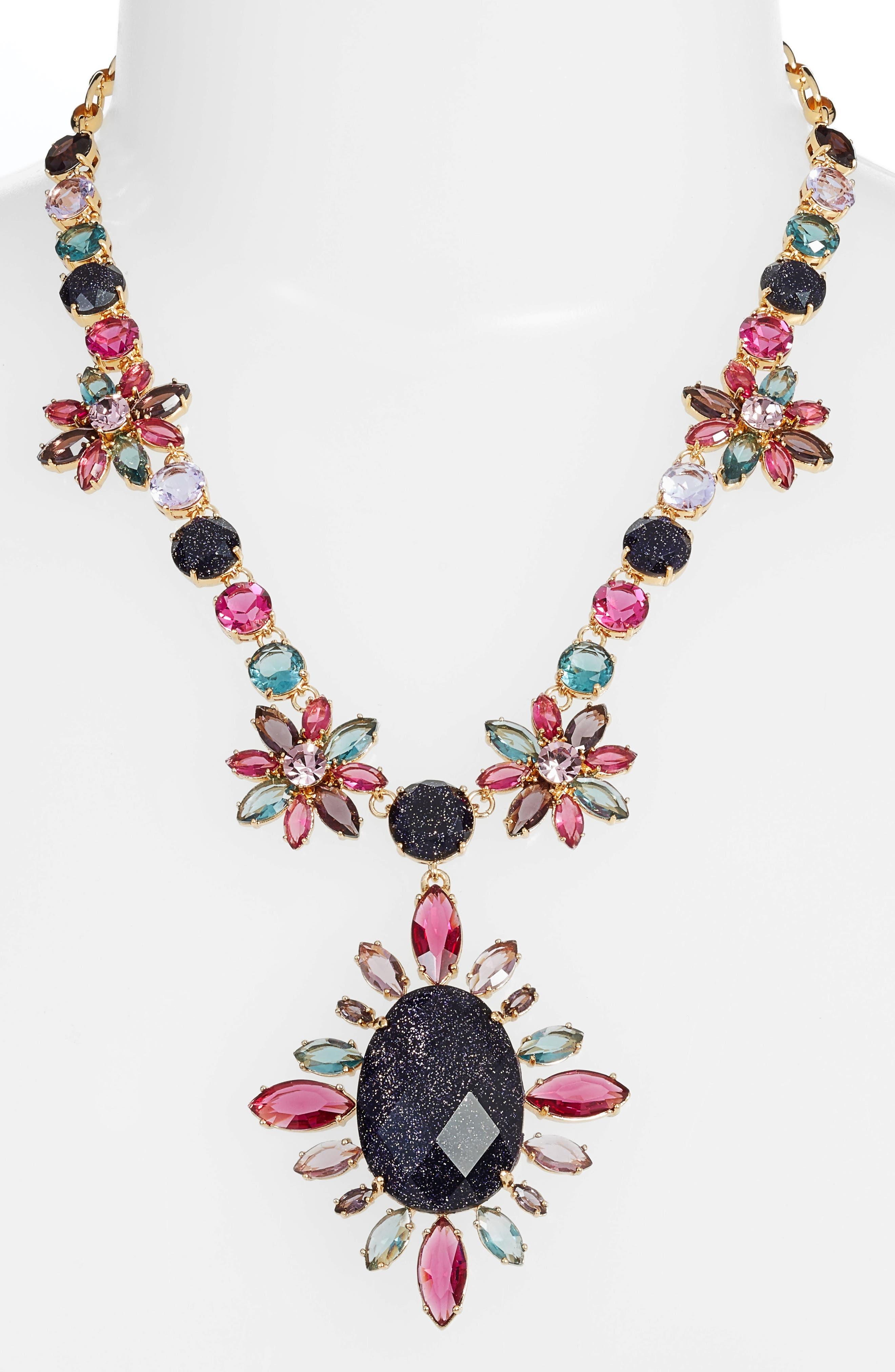 night sky pendant statement necklace,                         Main,                         color,