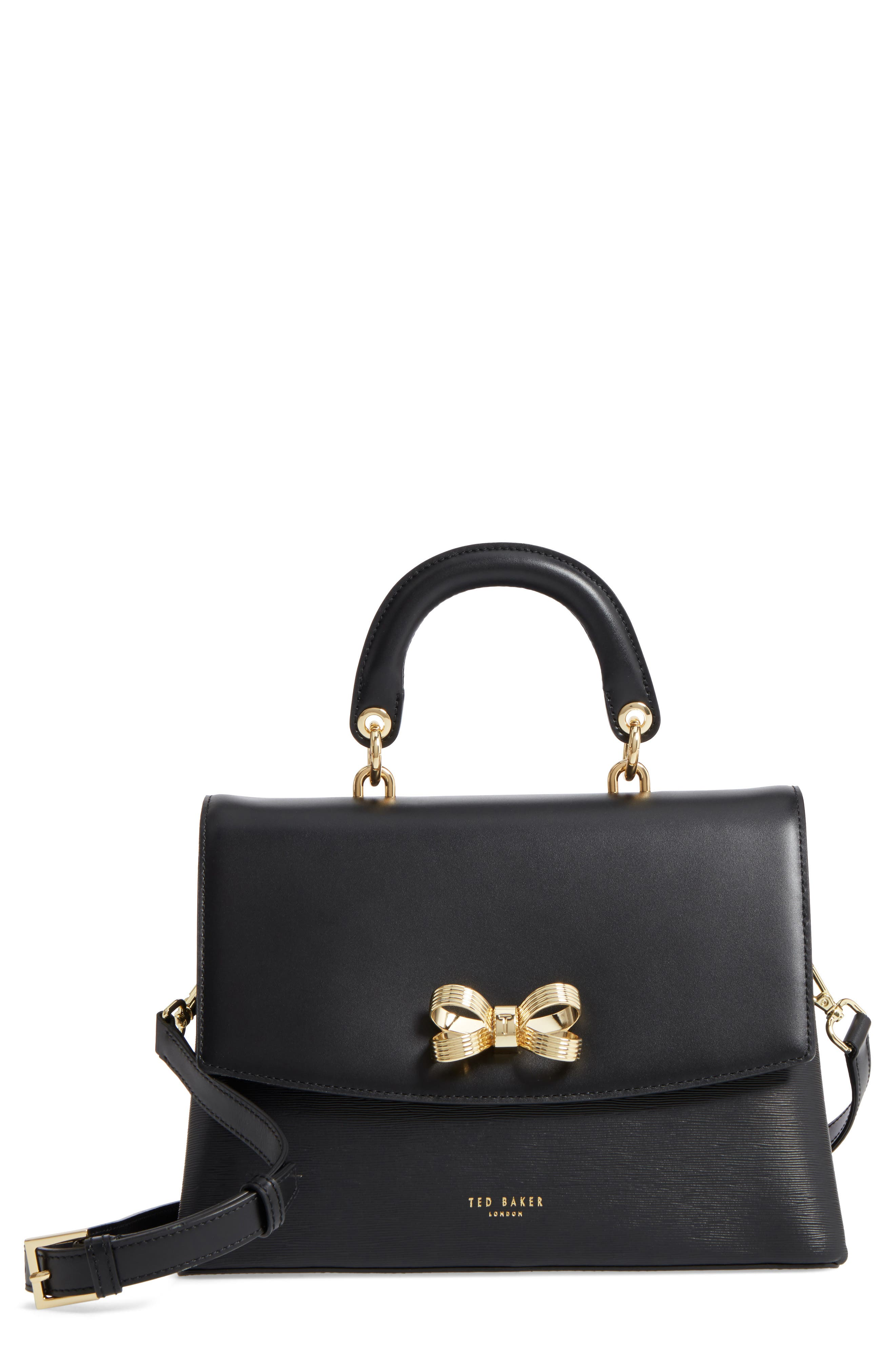 Lauree Looped Bow Leather Satchel,                         Main,                         color, 001