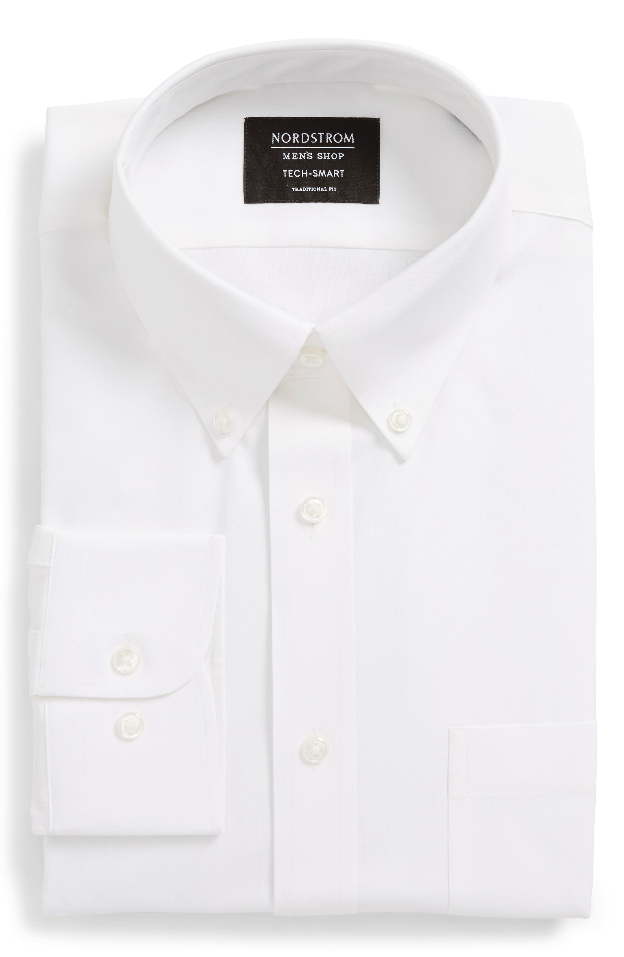 Tech-Smart Traditional Fit Stretch Pinpoint Dress Shirt,                             Alternate thumbnail 3, color,                             WHITE