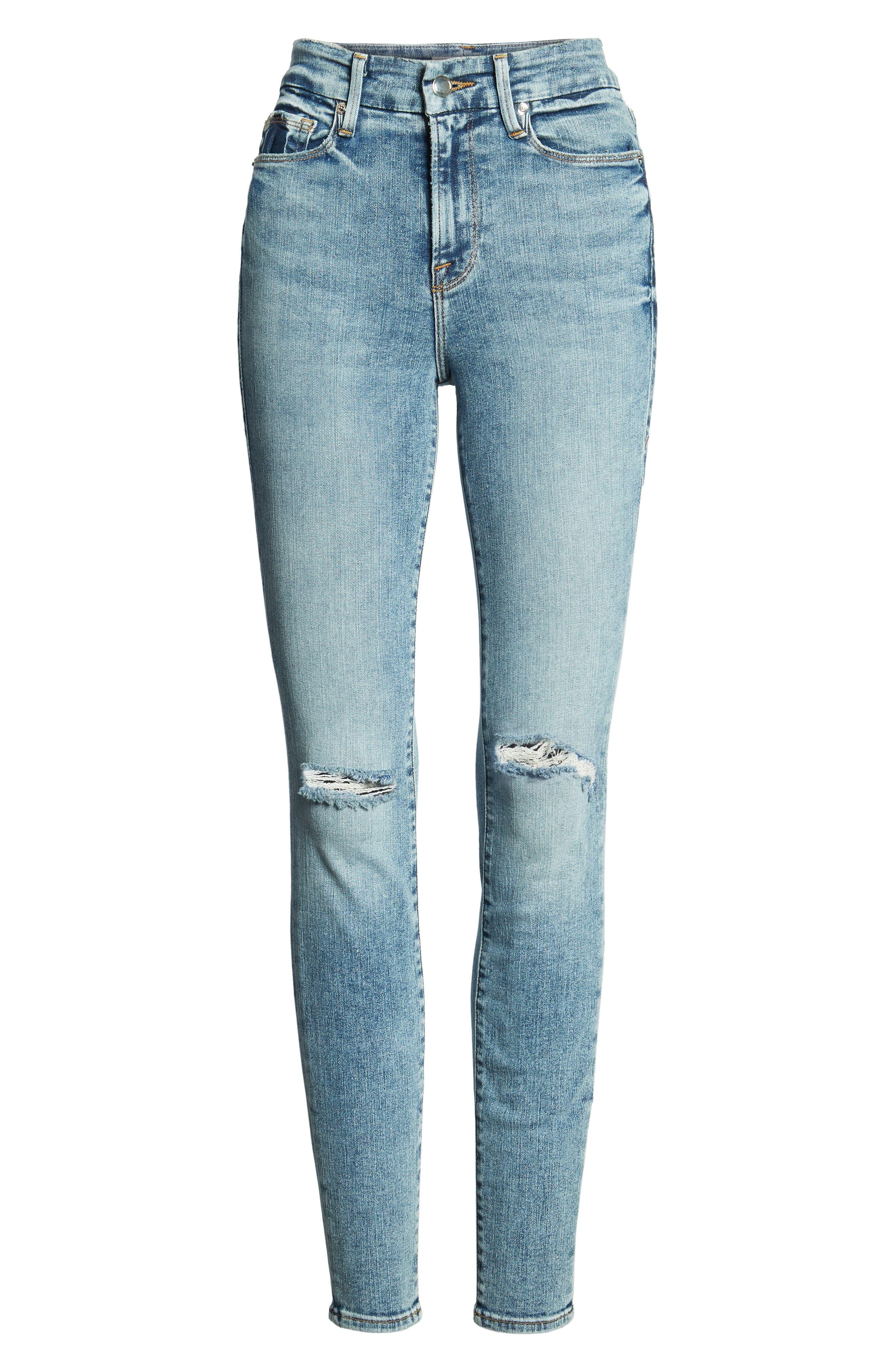 Good Legs Ripped High Waist Skinny Jeans,                             Alternate thumbnail 7, color,                             BLUE129