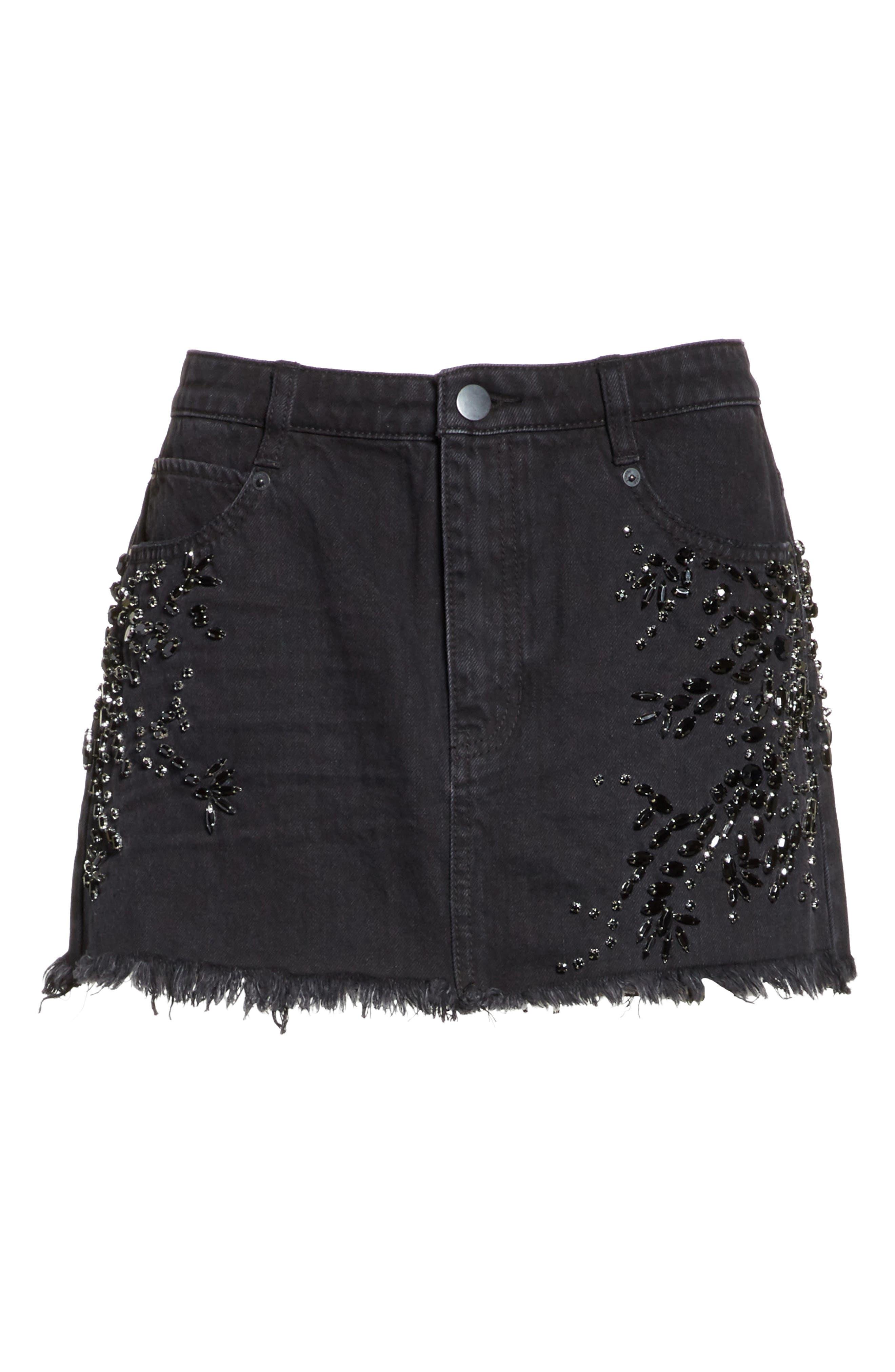 Shine Bright Shine Far Beaded Miniskirt,                             Alternate thumbnail 6, color,                             001