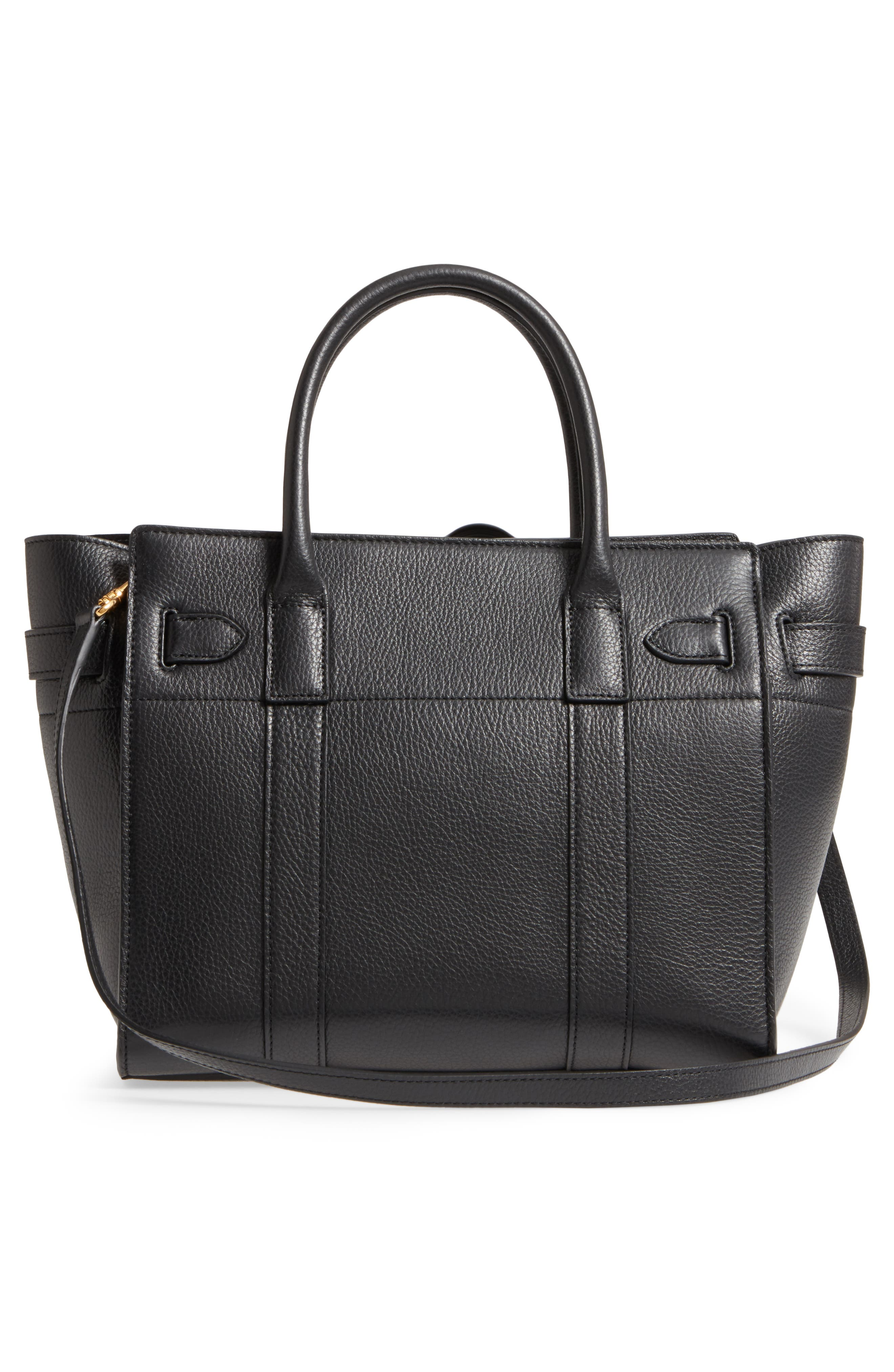 Small Zip Bayswater Classic Leather Tote,                             Alternate thumbnail 3, color,                             001