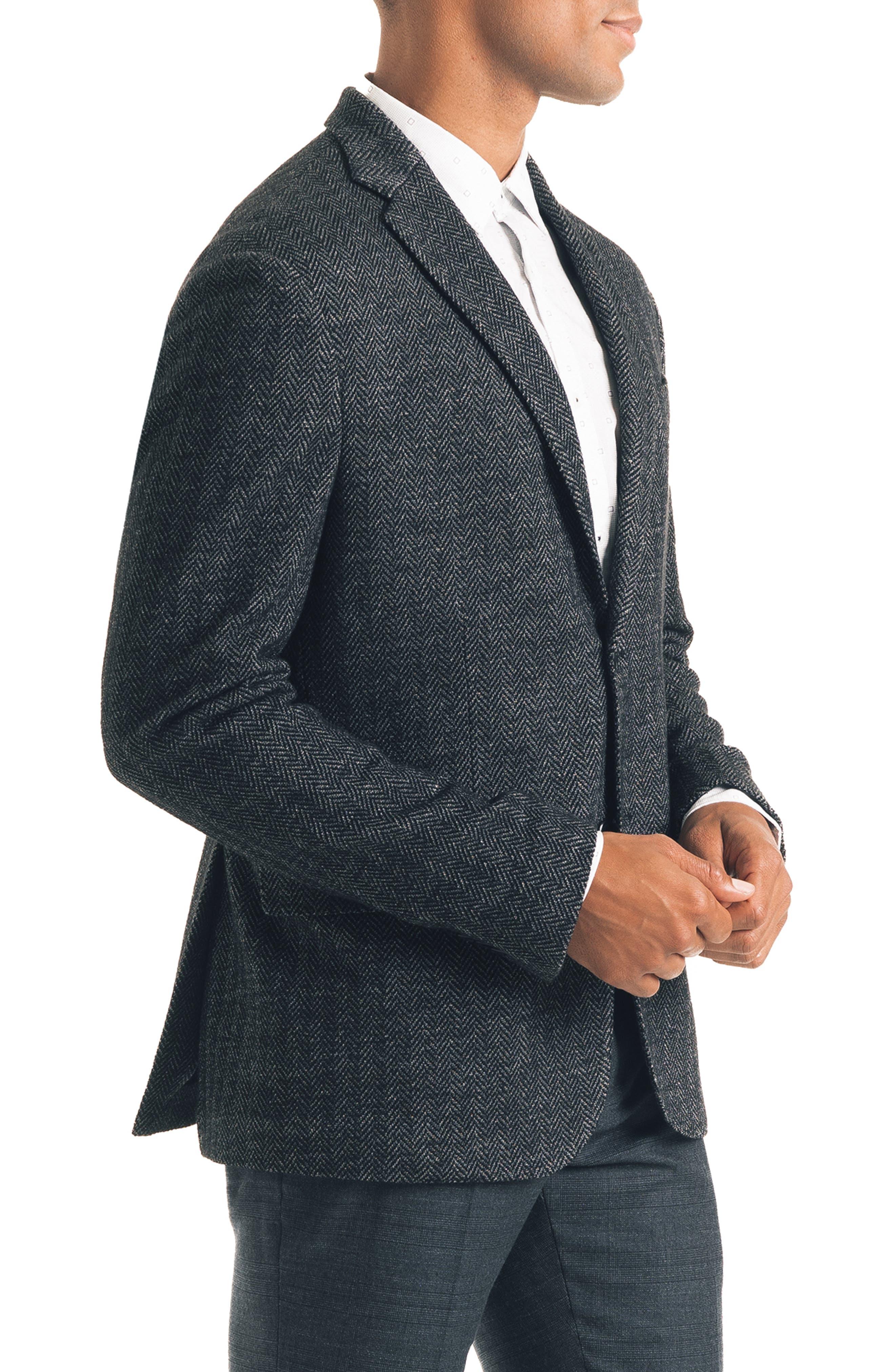 Uptown Trim Fit Herringbone Cotton Blend Sport Coat,                             Alternate thumbnail 3, color,                             BLACK
