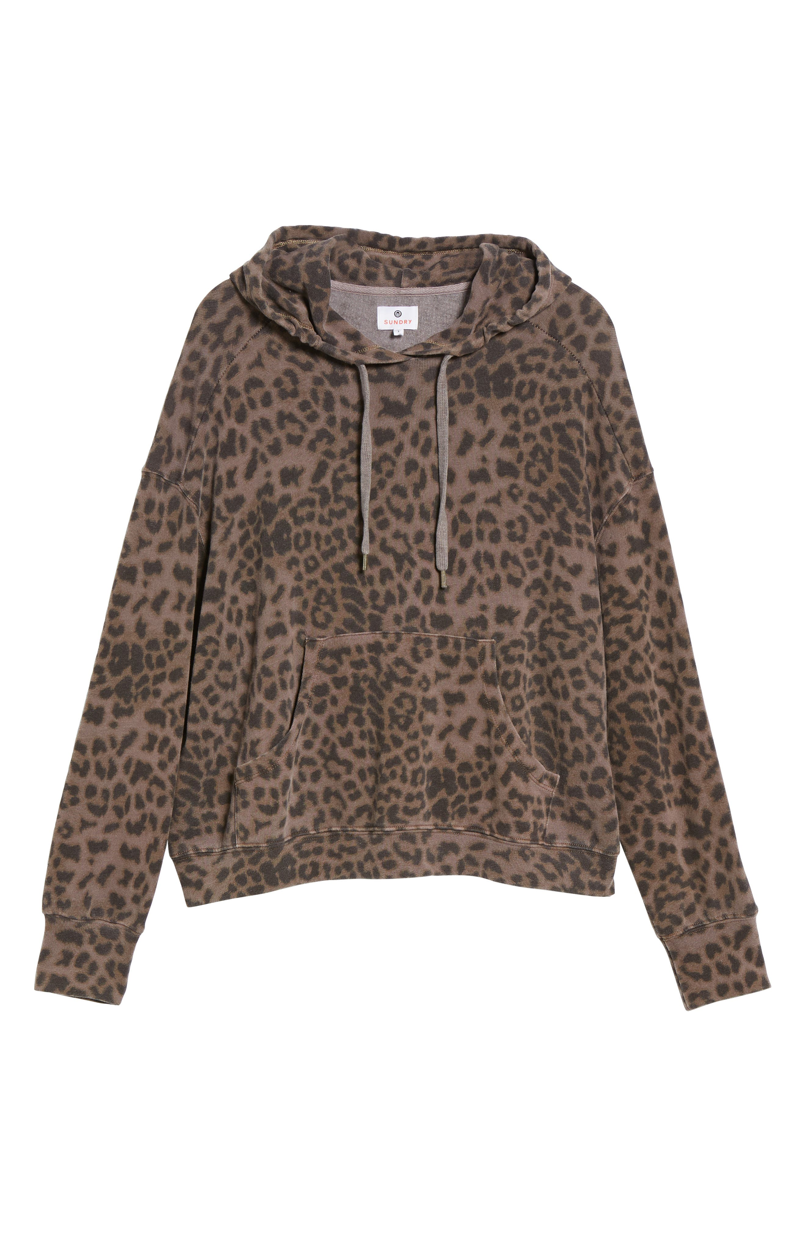 Leopard Spot Crop Hoodie,                             Alternate thumbnail 6, color,                             200