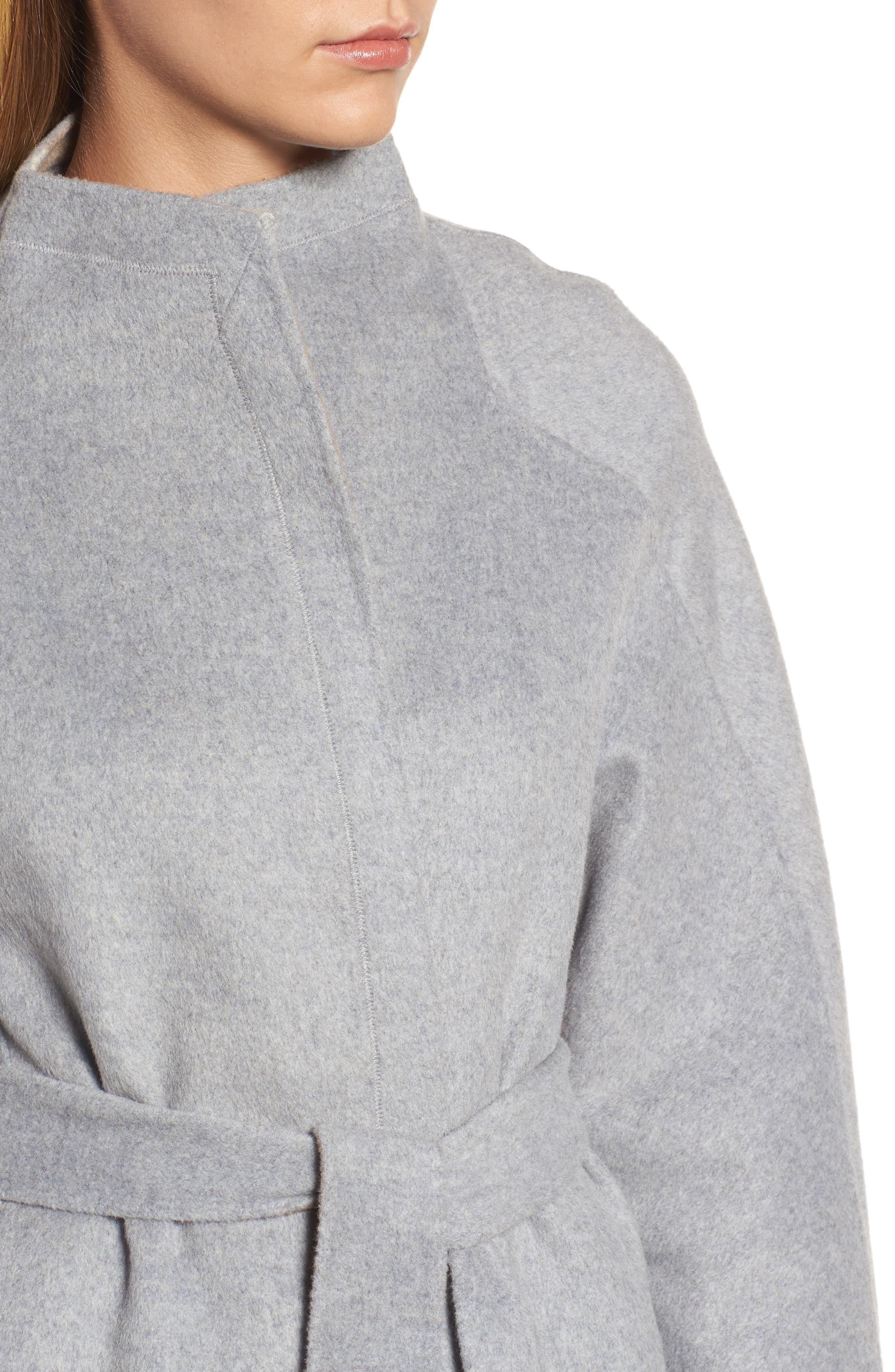 DKNY Wool Blend Wrap Coat,                             Alternate thumbnail 4, color,