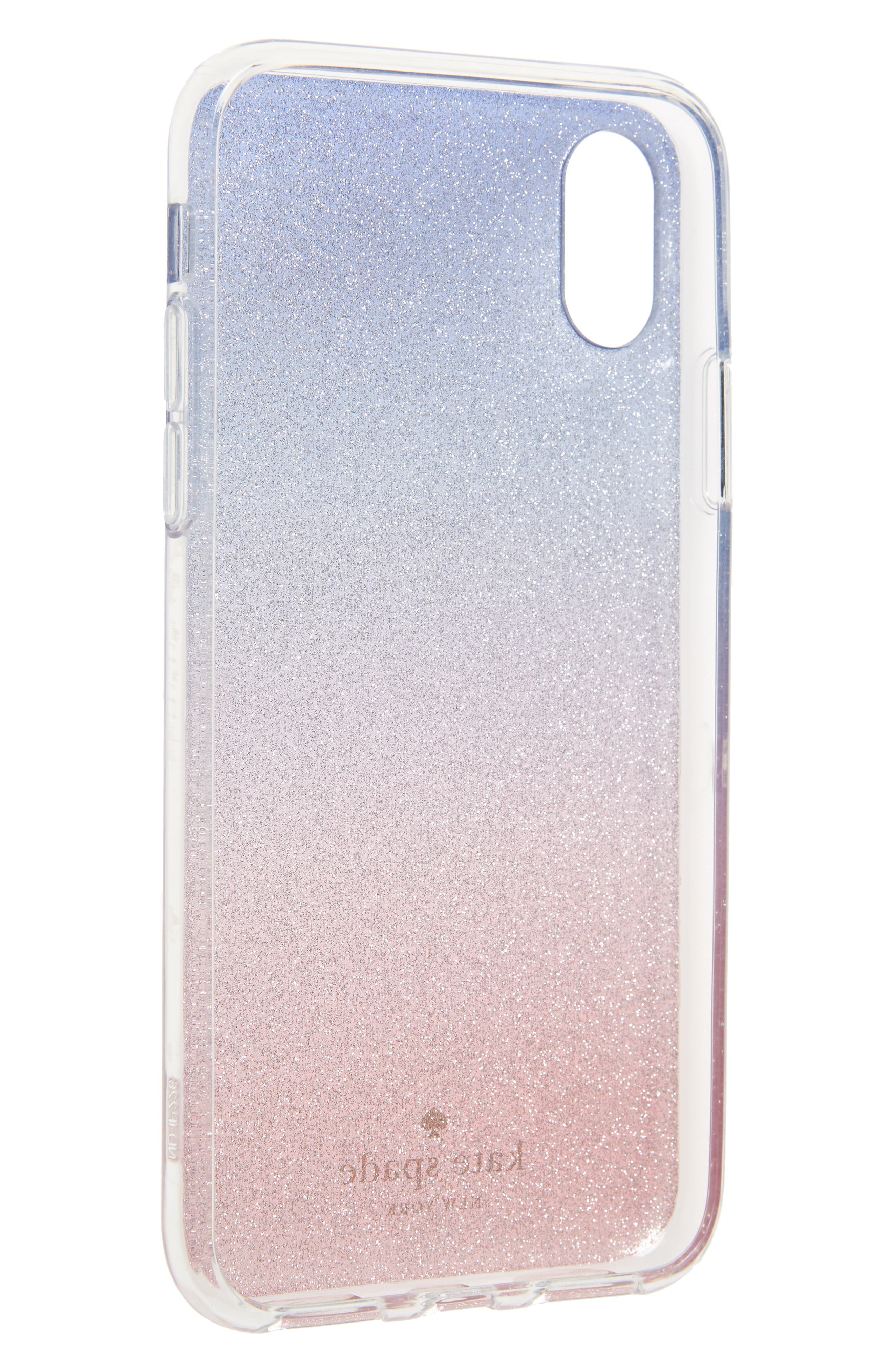 KATE SPADE NEW YORK,                             ombré sunset glitter iPhone X/Xs case,                             Alternate thumbnail 2, color,                             673