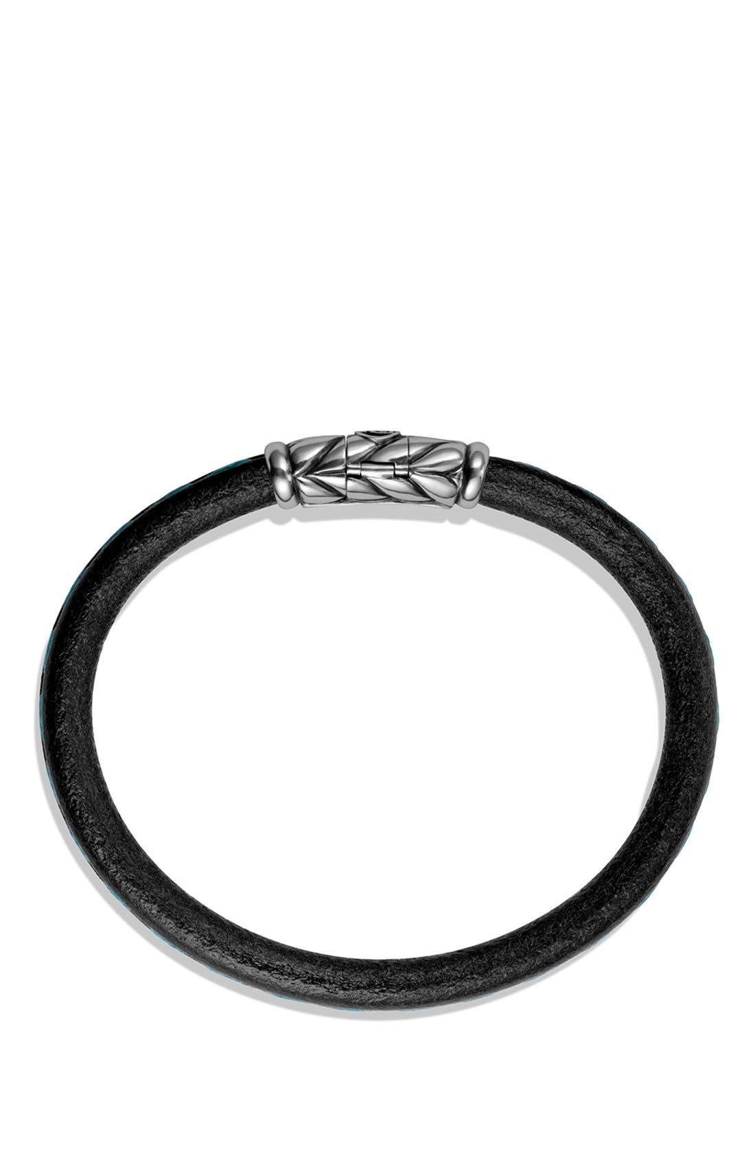 'Chevron' Leather Bracelet,                             Alternate thumbnail 3, color,                             001