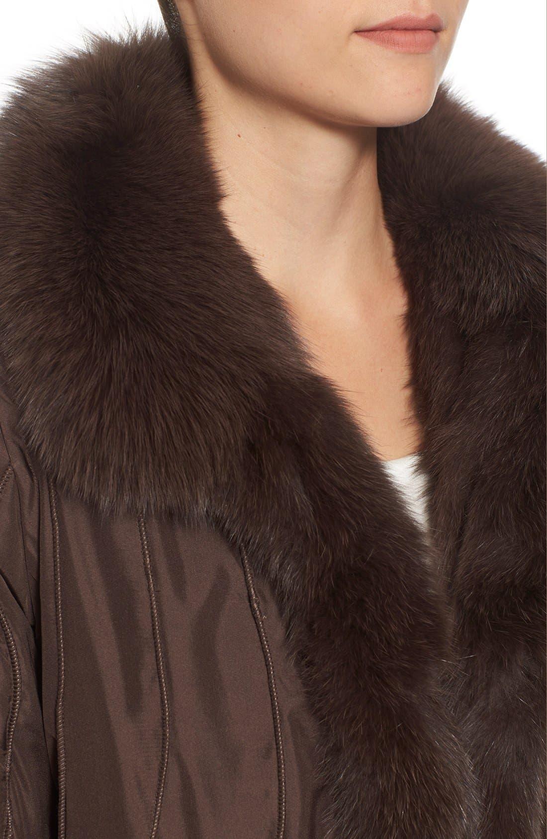 GeorgeSimonton Reversible Silk & Genuine Fox Fur Topper,                             Alternate thumbnail 19, color,