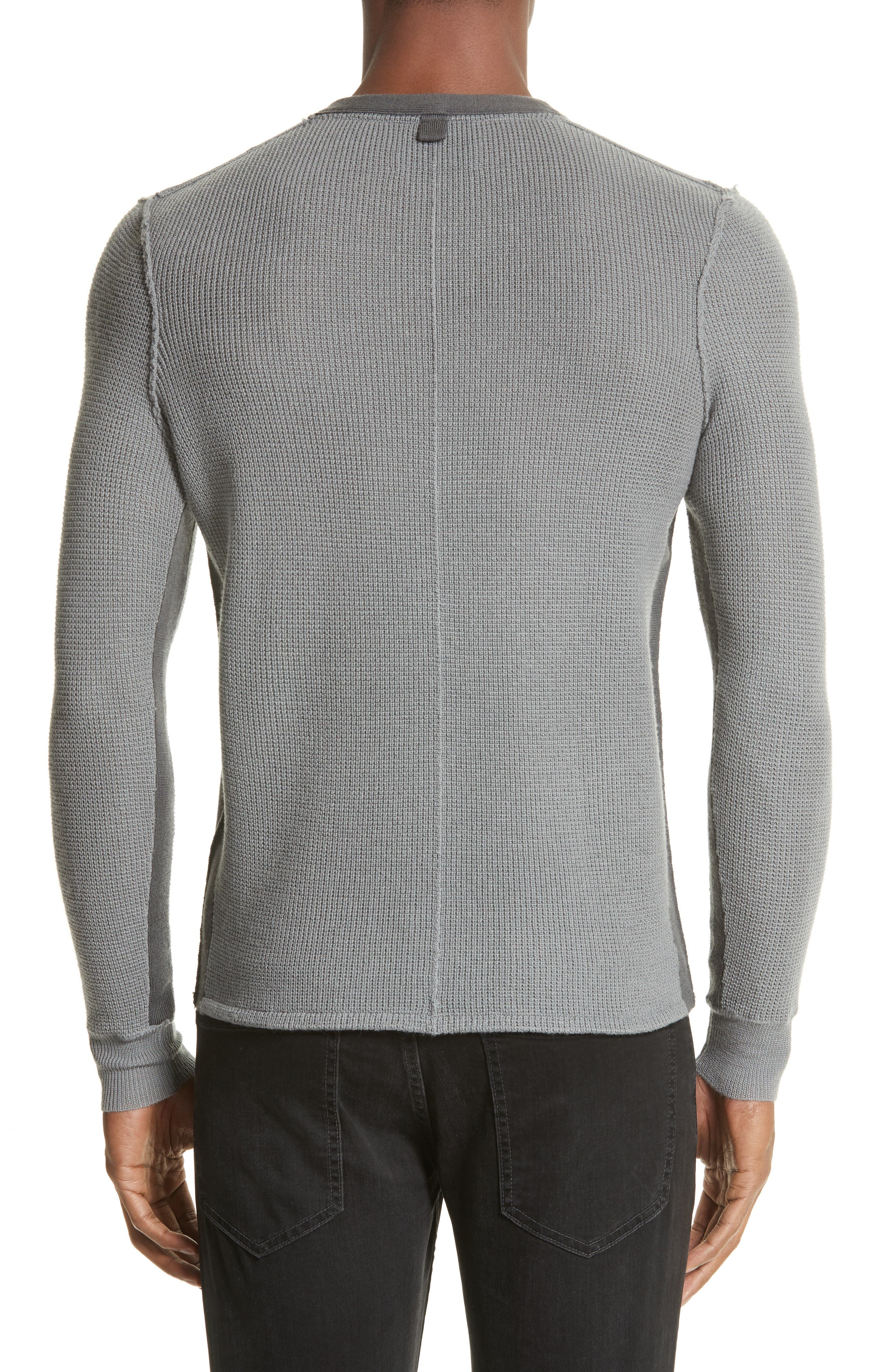Zack Two-Tone Waffle Knit Wool Henley,                             Alternate thumbnail 2, color,                             030