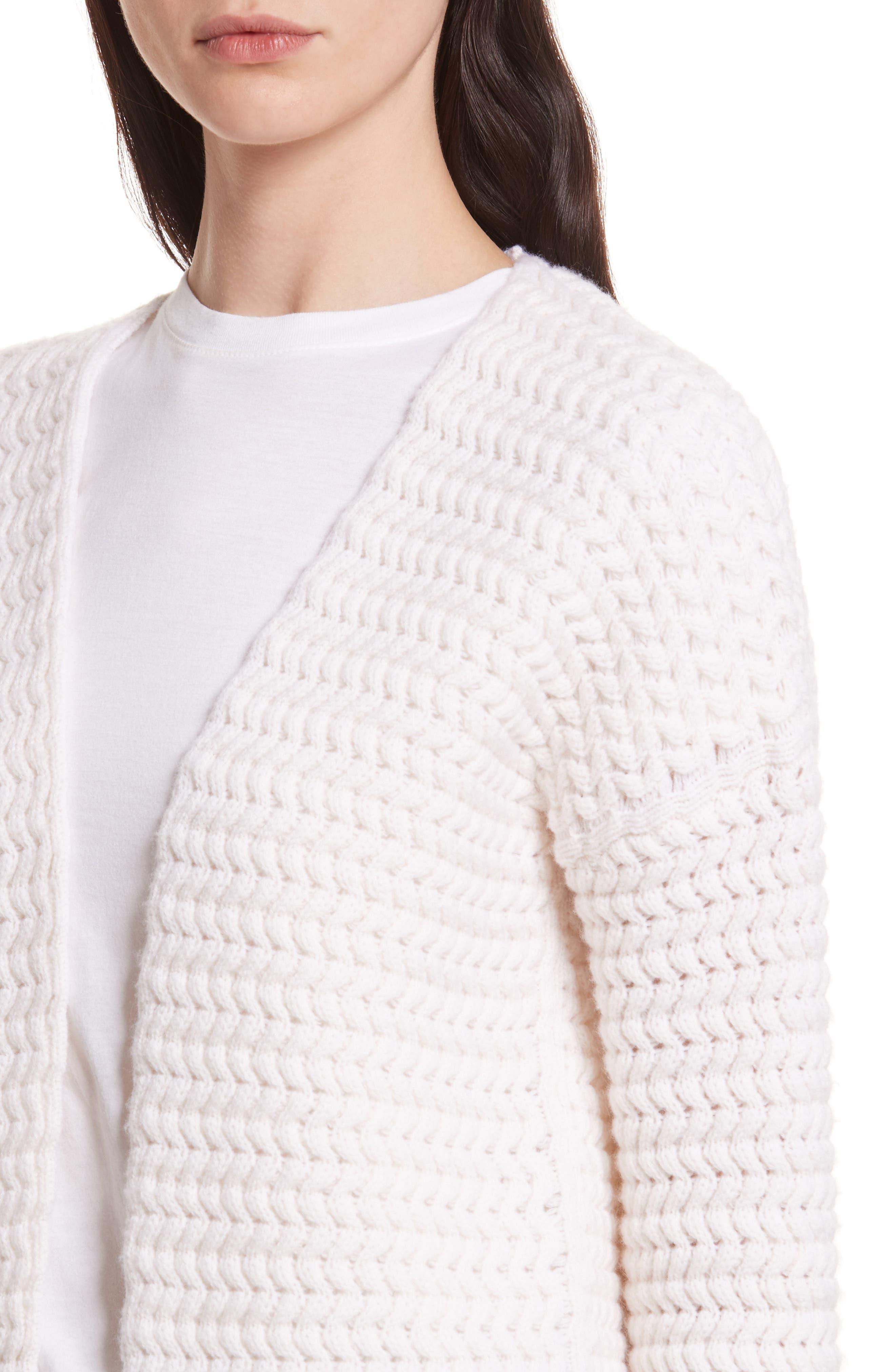 Wavy Knit Merino Wool & Cashmere Cardigan,                             Alternate thumbnail 4, color,                             905