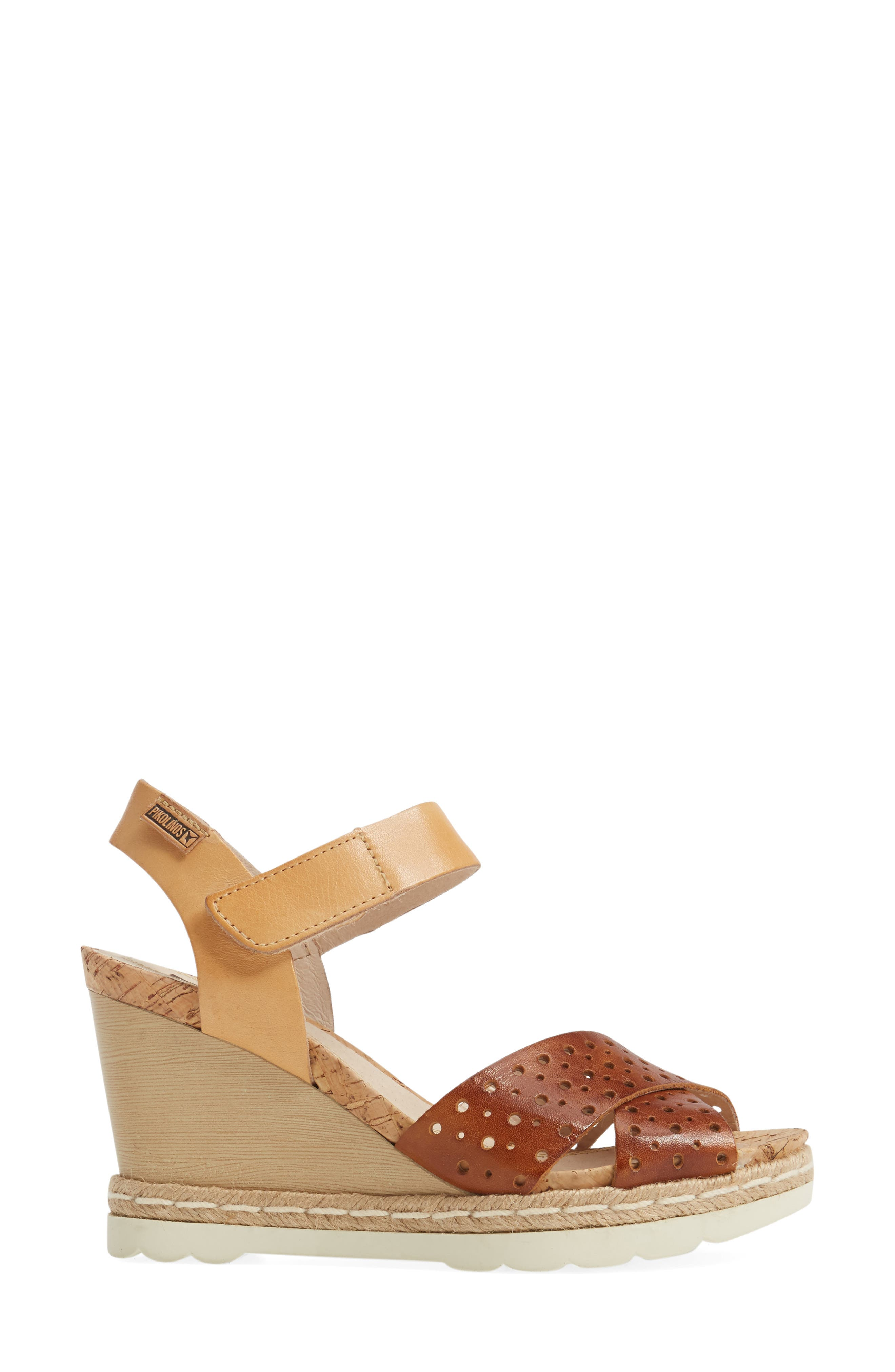 Bali Wedge Sandal,                             Alternate thumbnail 3, color,                             BRANDY CAMEL LEATHER