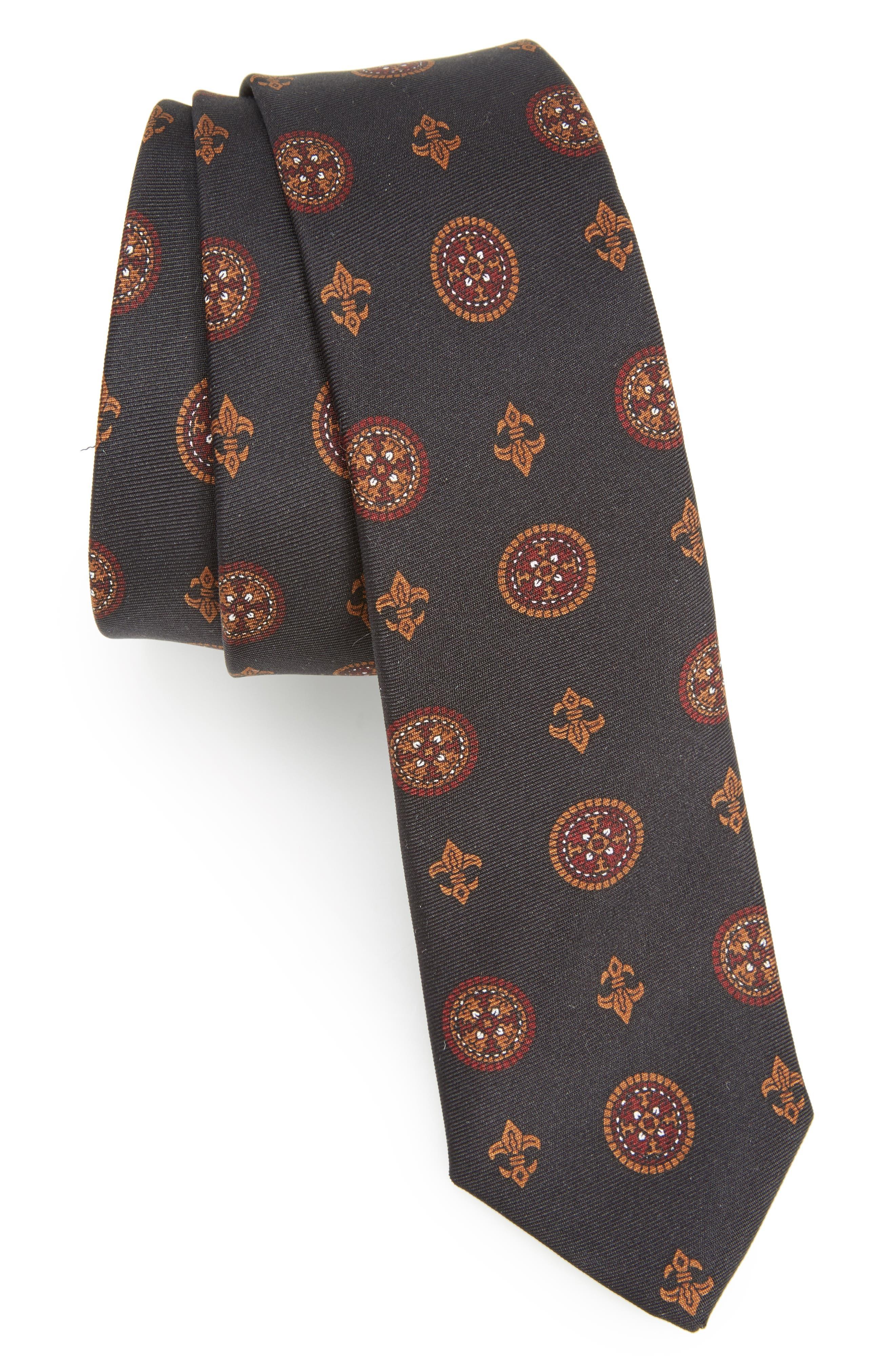 Print Silk Skinny Tie,                         Main,                         color, 001
