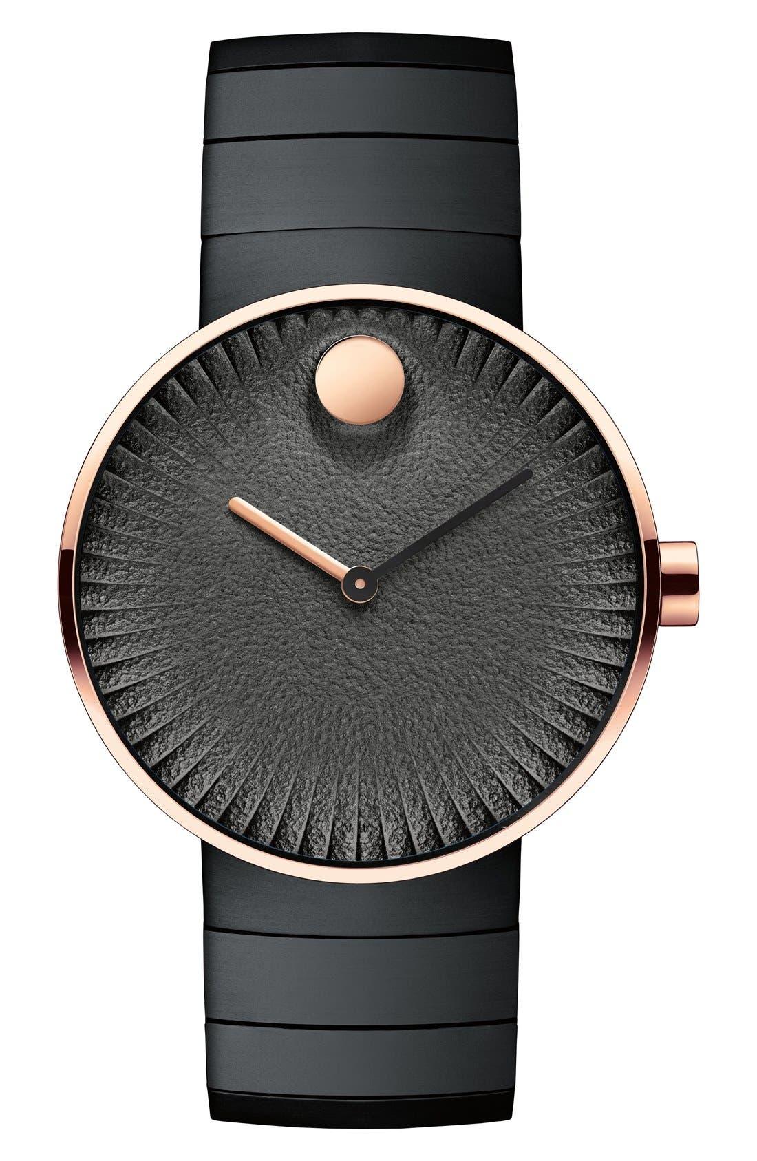 'Edge' Bracelet Watch, 40mm,                         Main,                         color, BLACK/ COPPER