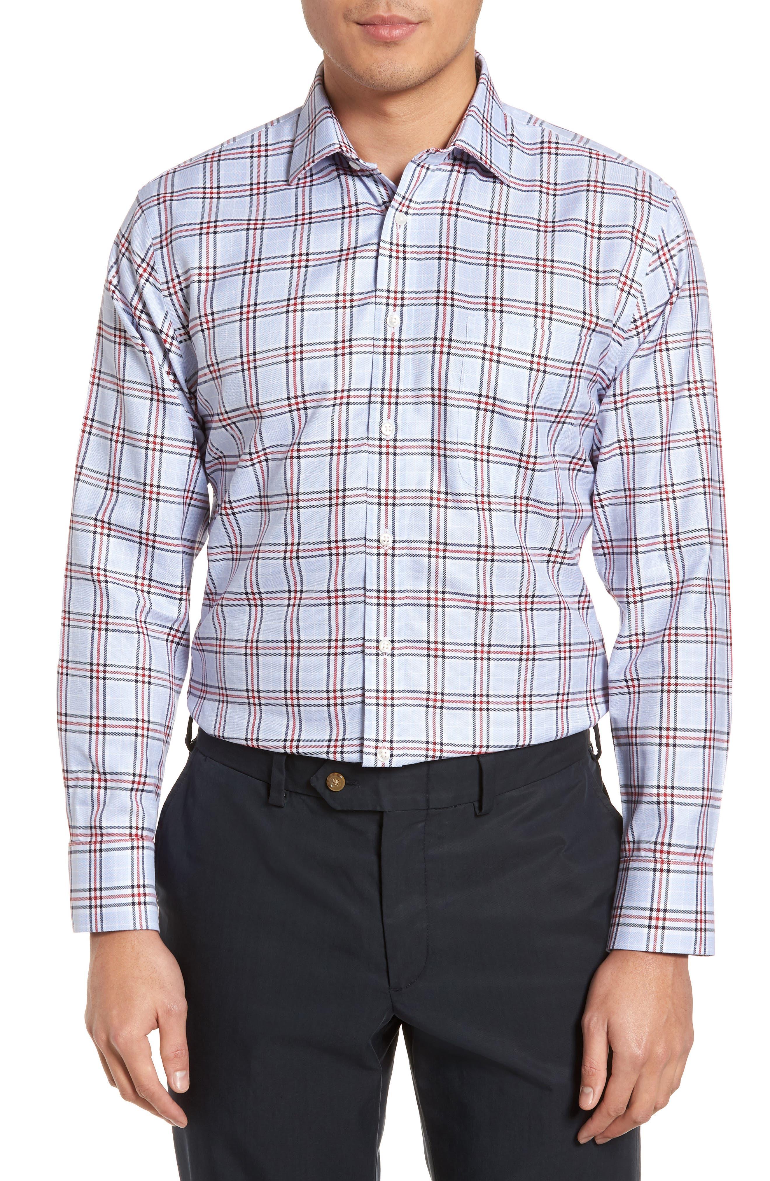 Smartcare<sup>™</sup> Trim Fit Plaid Dress Shirt,                         Main,                         color,