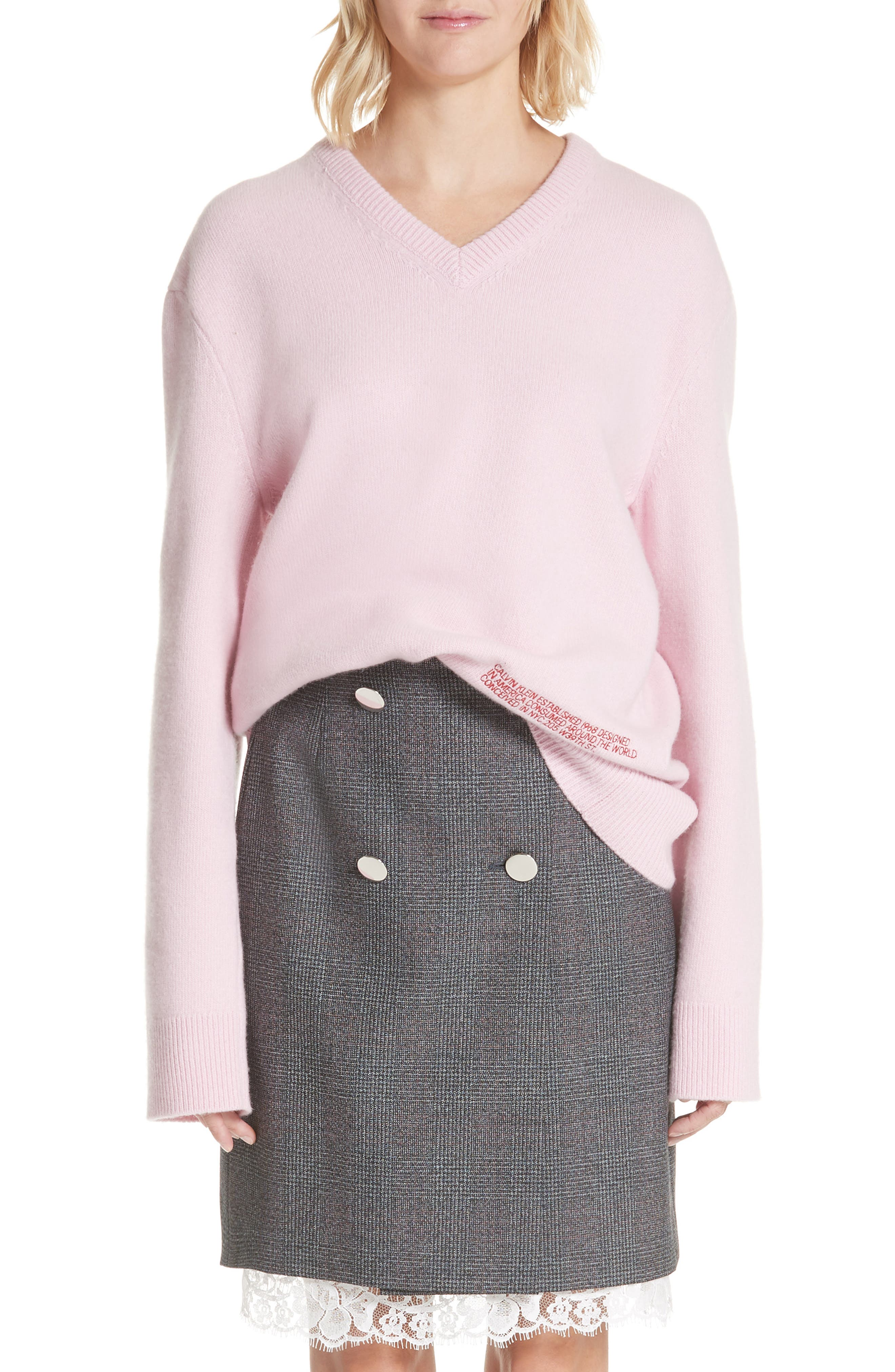 Logo Wool & Cotton Sweater,                         Main,                         color, CHERRY BLOSSOM