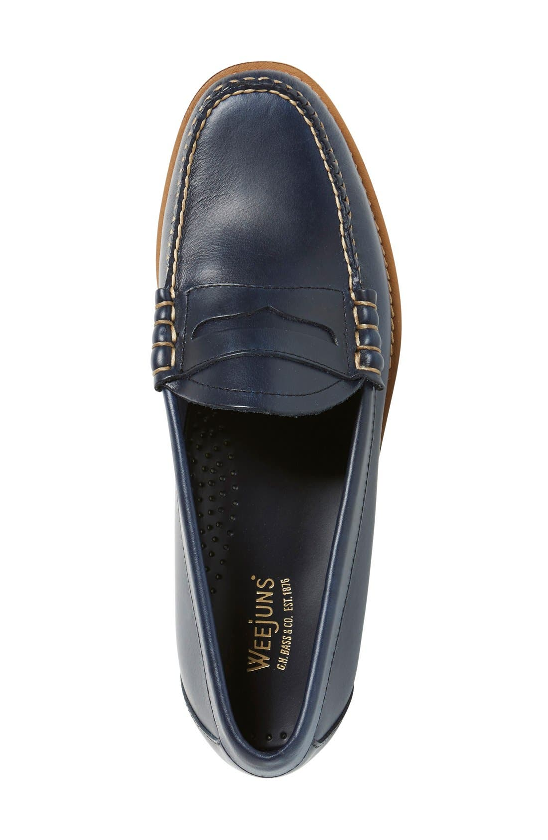 'Larson - Weejuns' Penny Loafer,                             Alternate thumbnail 3, color,                             BLUE LEATHER