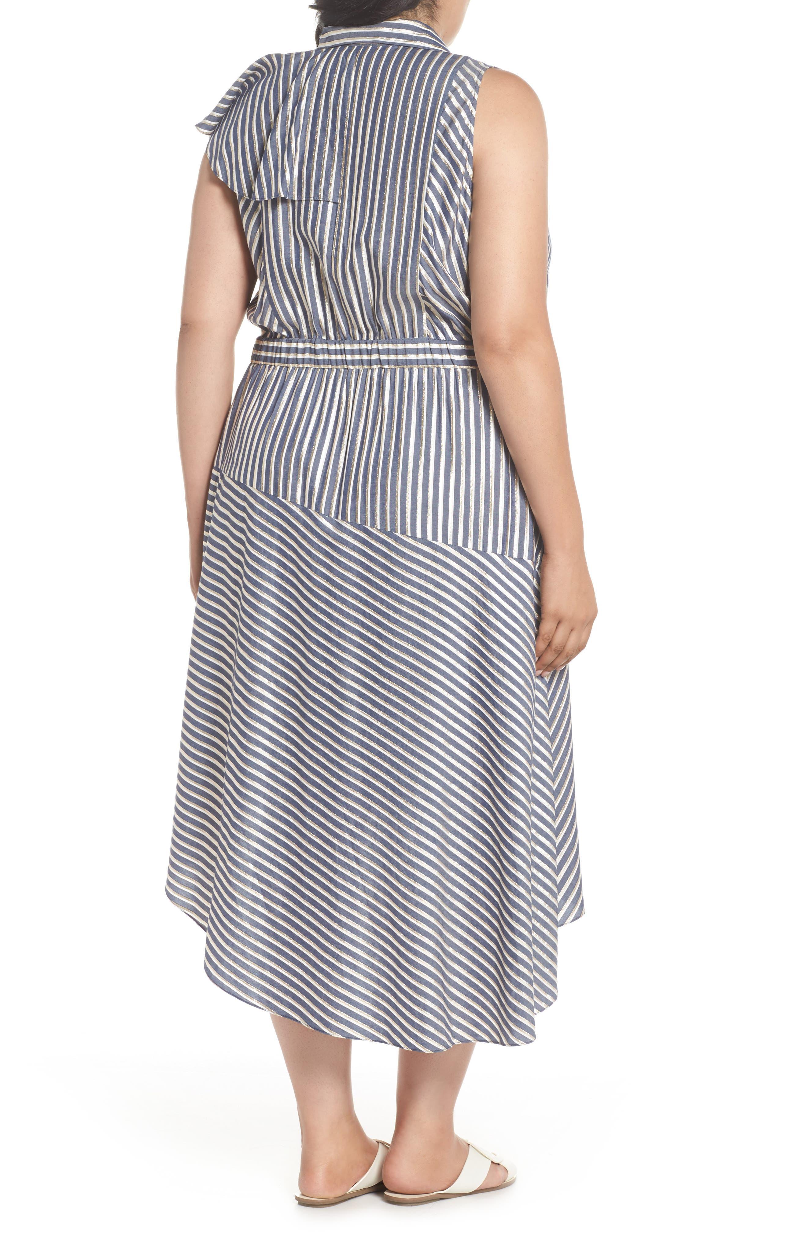Stripe Asymmetrical Ruffle Shirtdress,                             Alternate thumbnail 2, color,                             411