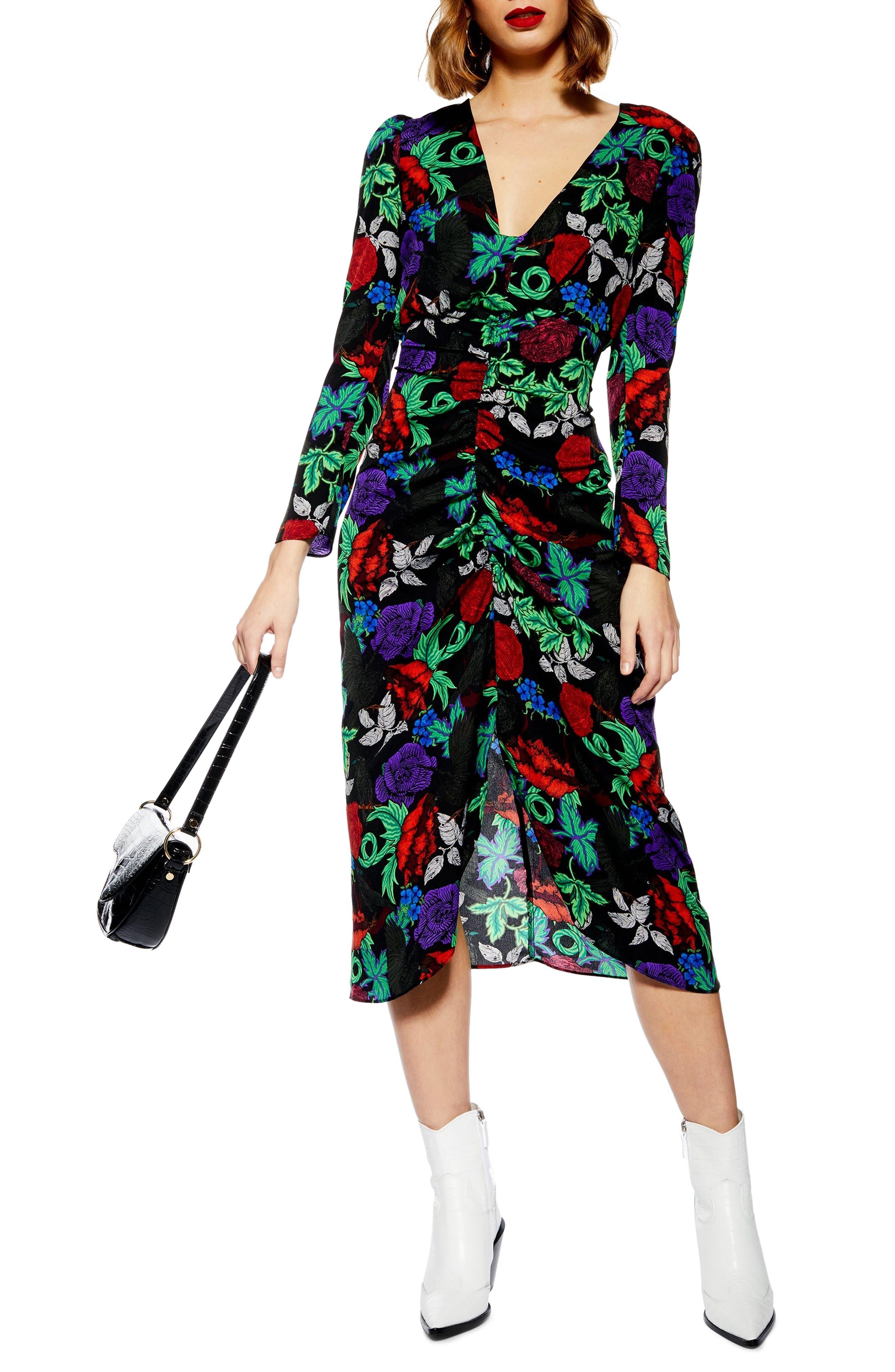 Topshop Raven Floral Midi Dress, US (fits like 6-8) - Black