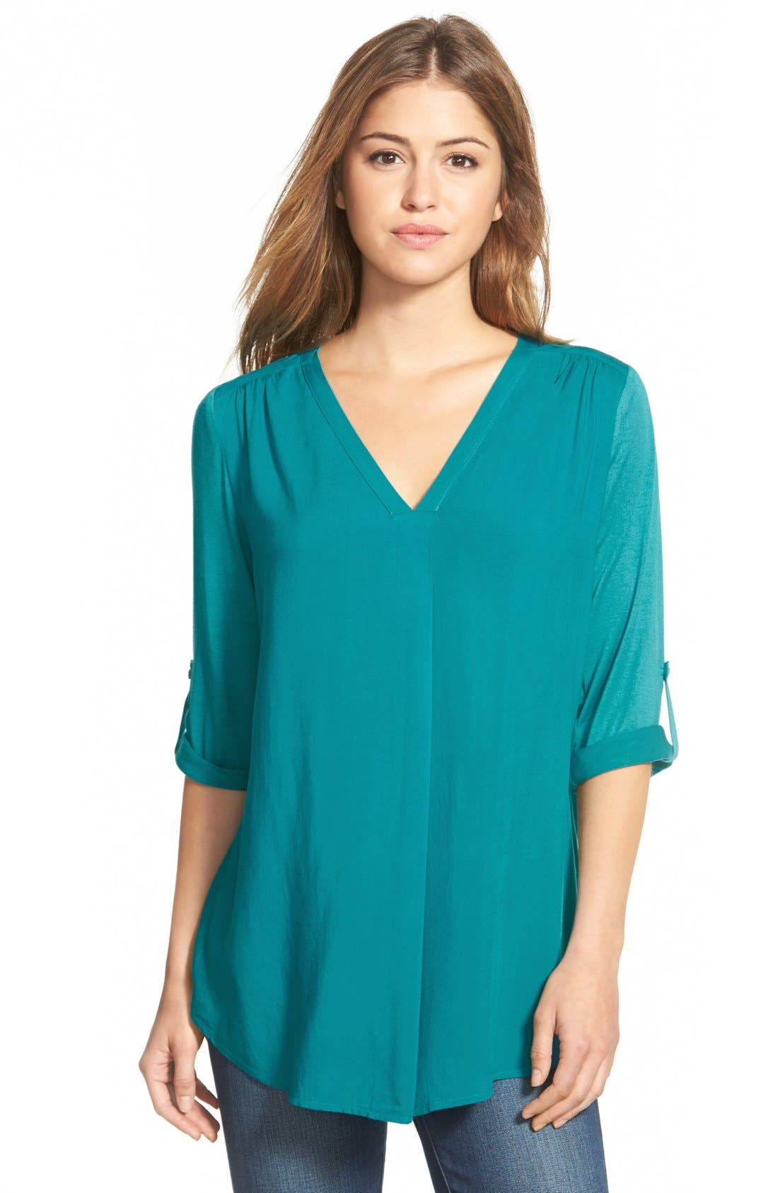 Mixed Media V-Neck Tunic,                             Main thumbnail 16, color,