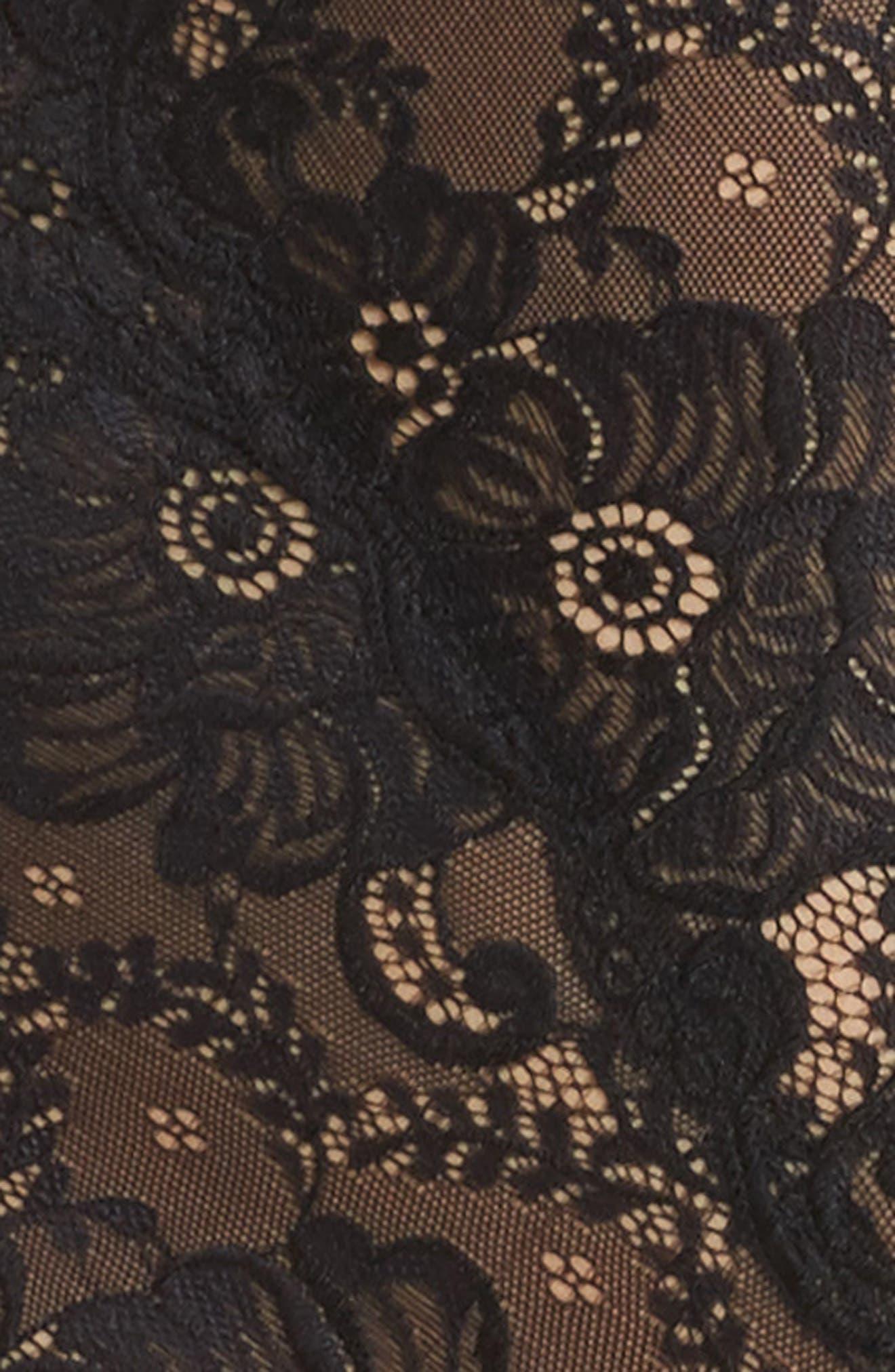 Suzette Lace Teddy,                             Alternate thumbnail 4, color,                             BLACK