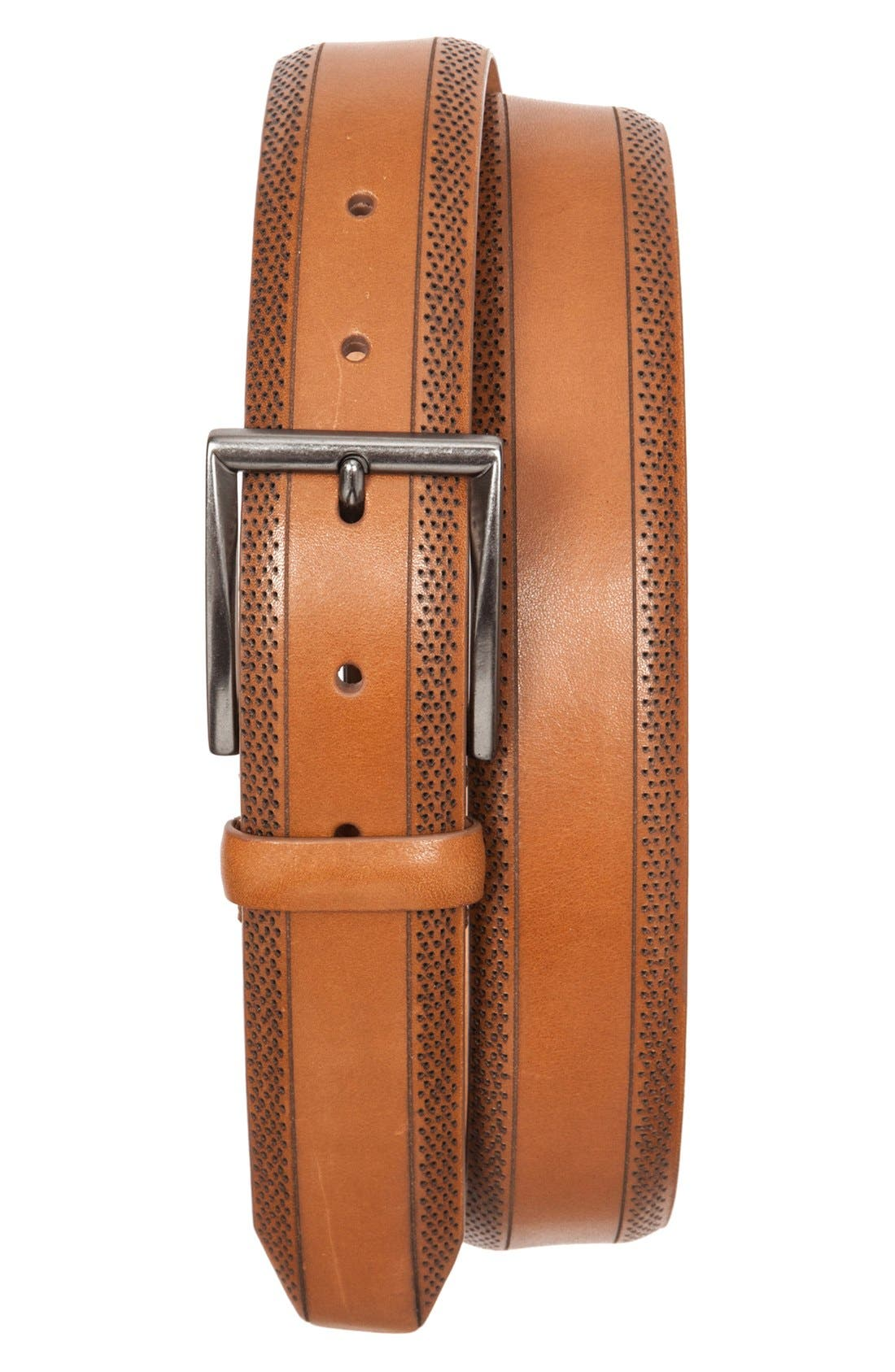 Perforated Leather Belt,                             Main thumbnail 2, color,